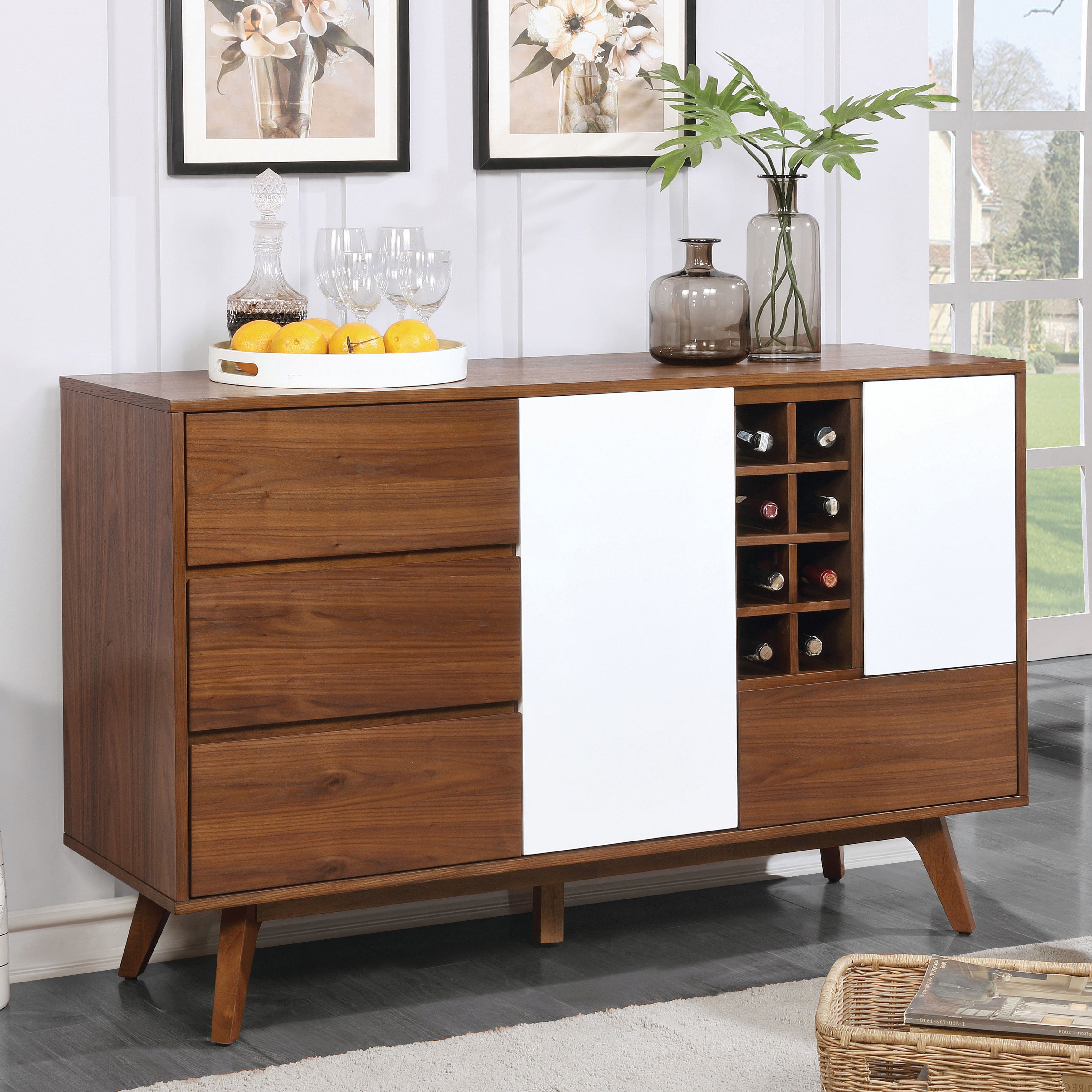 Furniture Of America Liman Mid Century Modern 2 Tone Oak/white  Multi Storage Buffet/wine Cabinet Throughout Contemporary Wooden Buffets With One Side Door Storage Cabinets And Two Drawers (View 5 of 20)