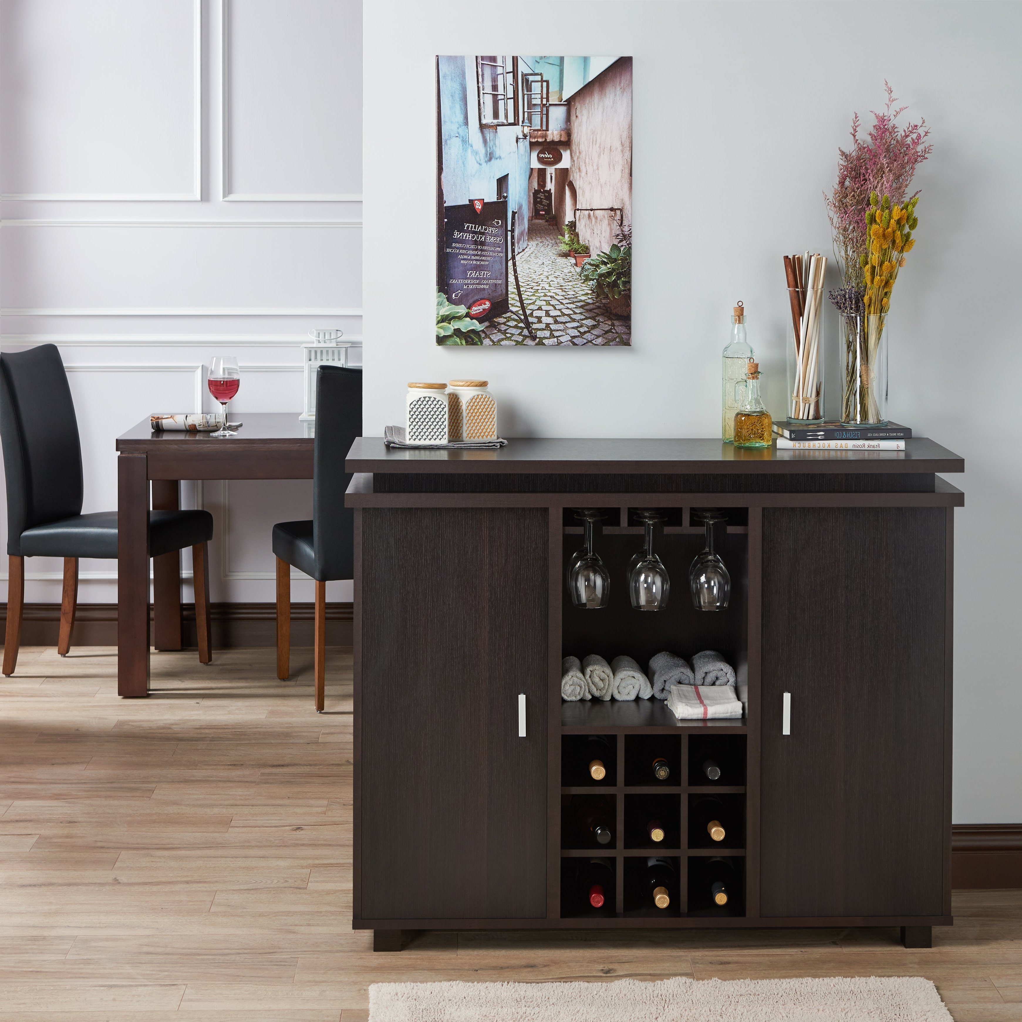 Furniture Of America Mirande Contemporary Espresso Dining Buffet With Wine  Storage Intended For Contemporary Espresso 2 Cabinet Dining Buffets (View 9 of 20)