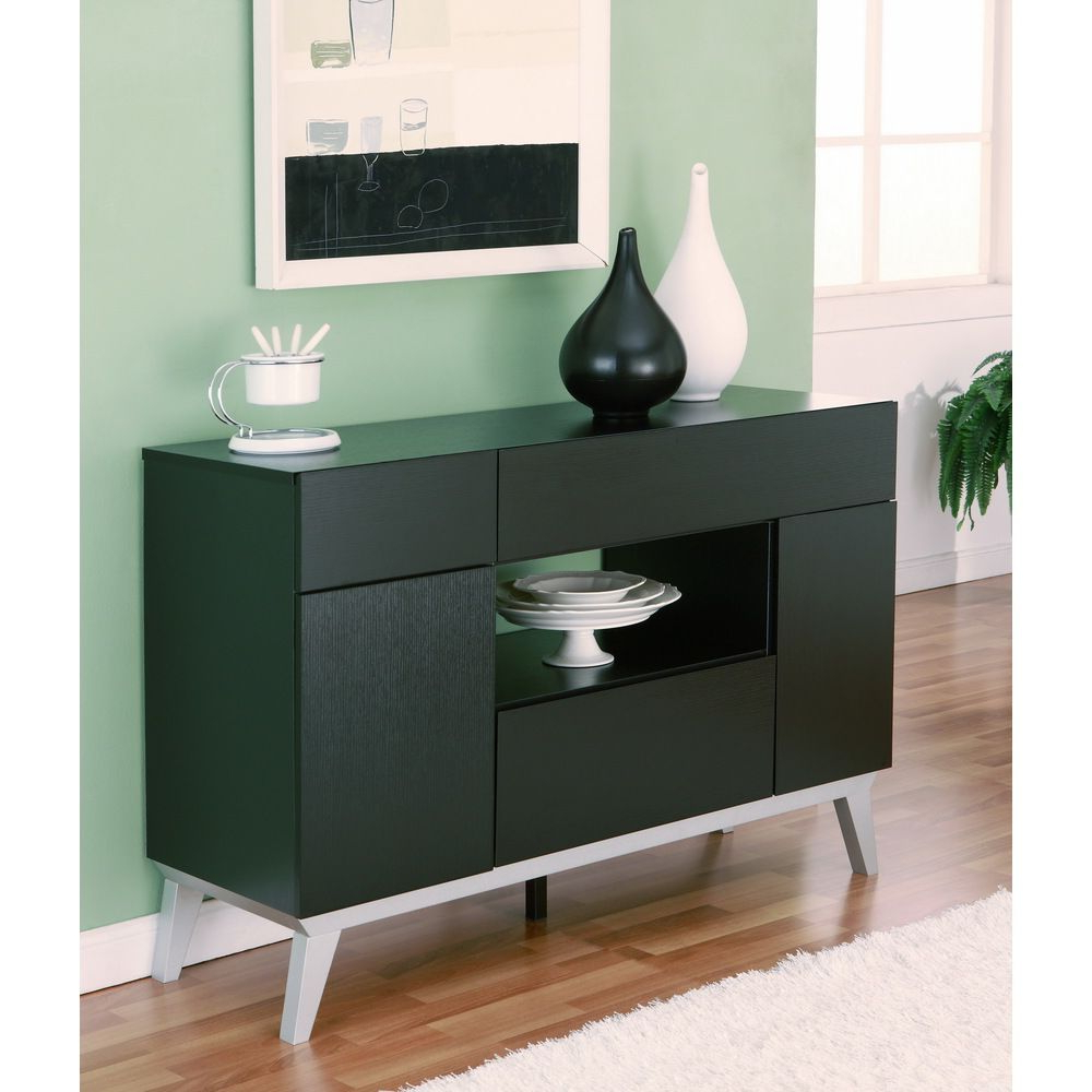Furniture Of America Miura Modern Multi Storage Black Buffet Pertaining To Modern Black Storage Buffets (View 14 of 20)