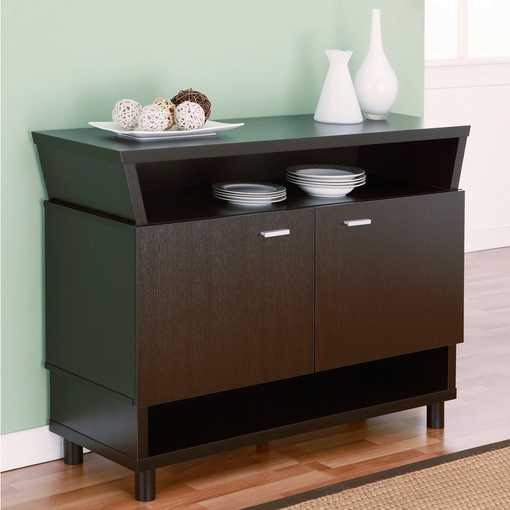 Furniture Of America Modern Avant Garde 2 Cabinet Dining Buffet Server Pertaining To Contemporary Espresso 2 Cabinet Dining Buffets (View 10 of 20)