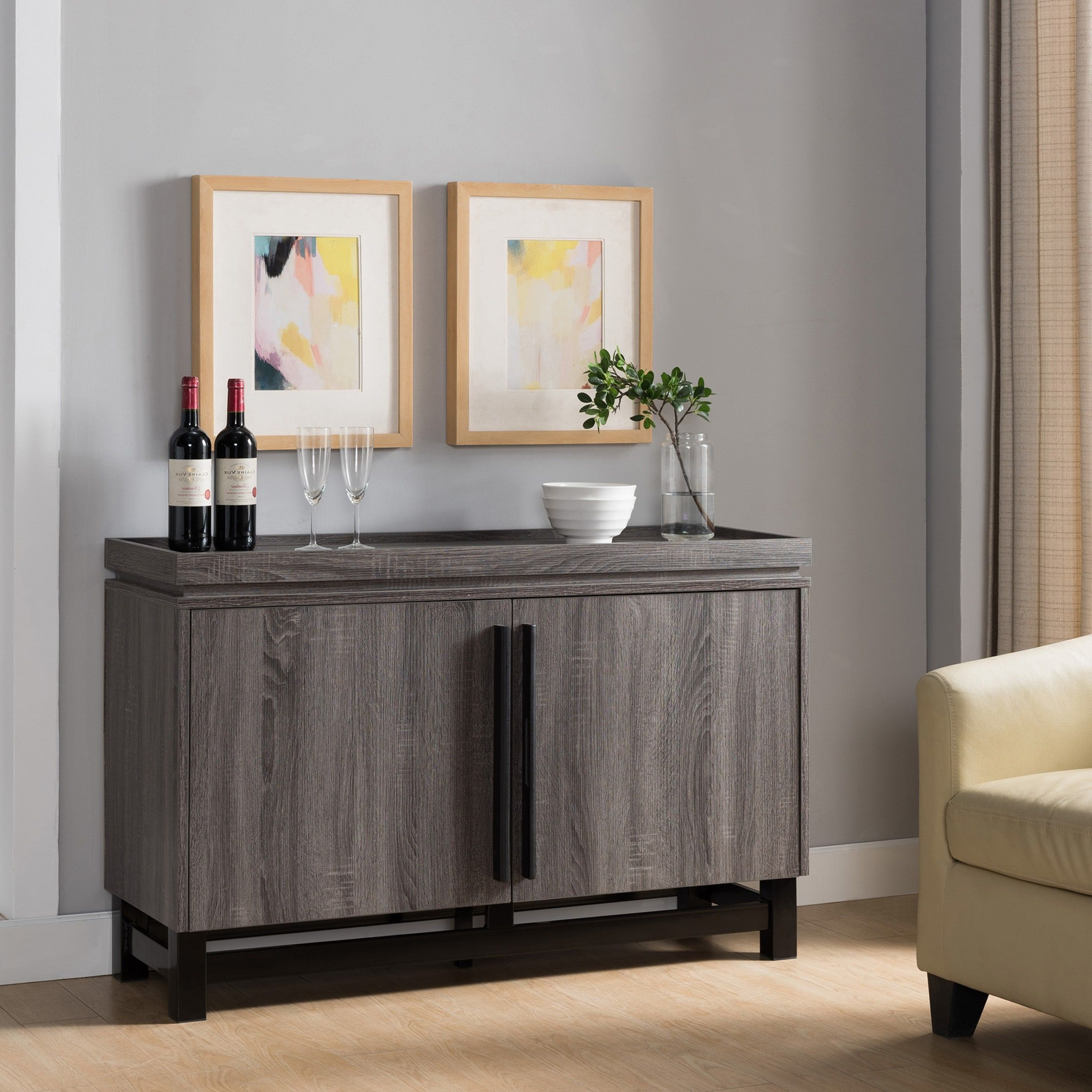 Furniture Of America Revine Modern Distressed Grey Two Tone Intended For Contemporary Distressed Grey Buffets (View 5 of 20)