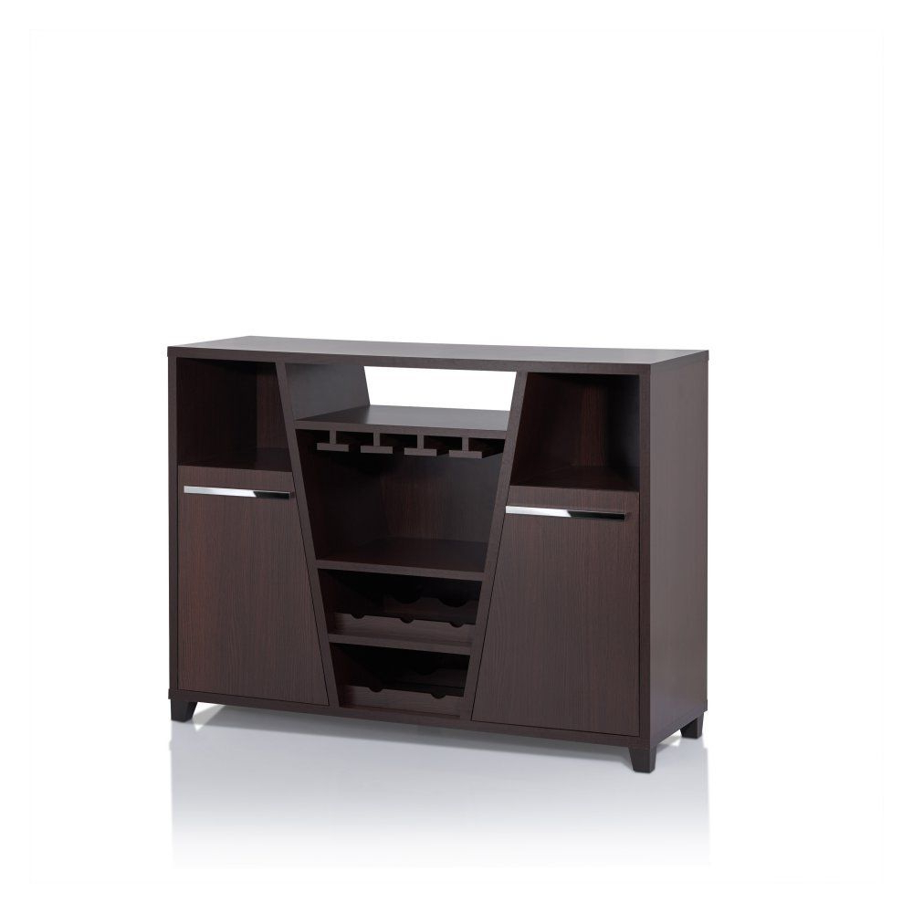 Furniture Of America Romon Espresso Modern Multi Storage Dining Server, Deep Pertaining To Contemporary Espresso 2 Cabinet Dining Buffets (View 11 of 20)