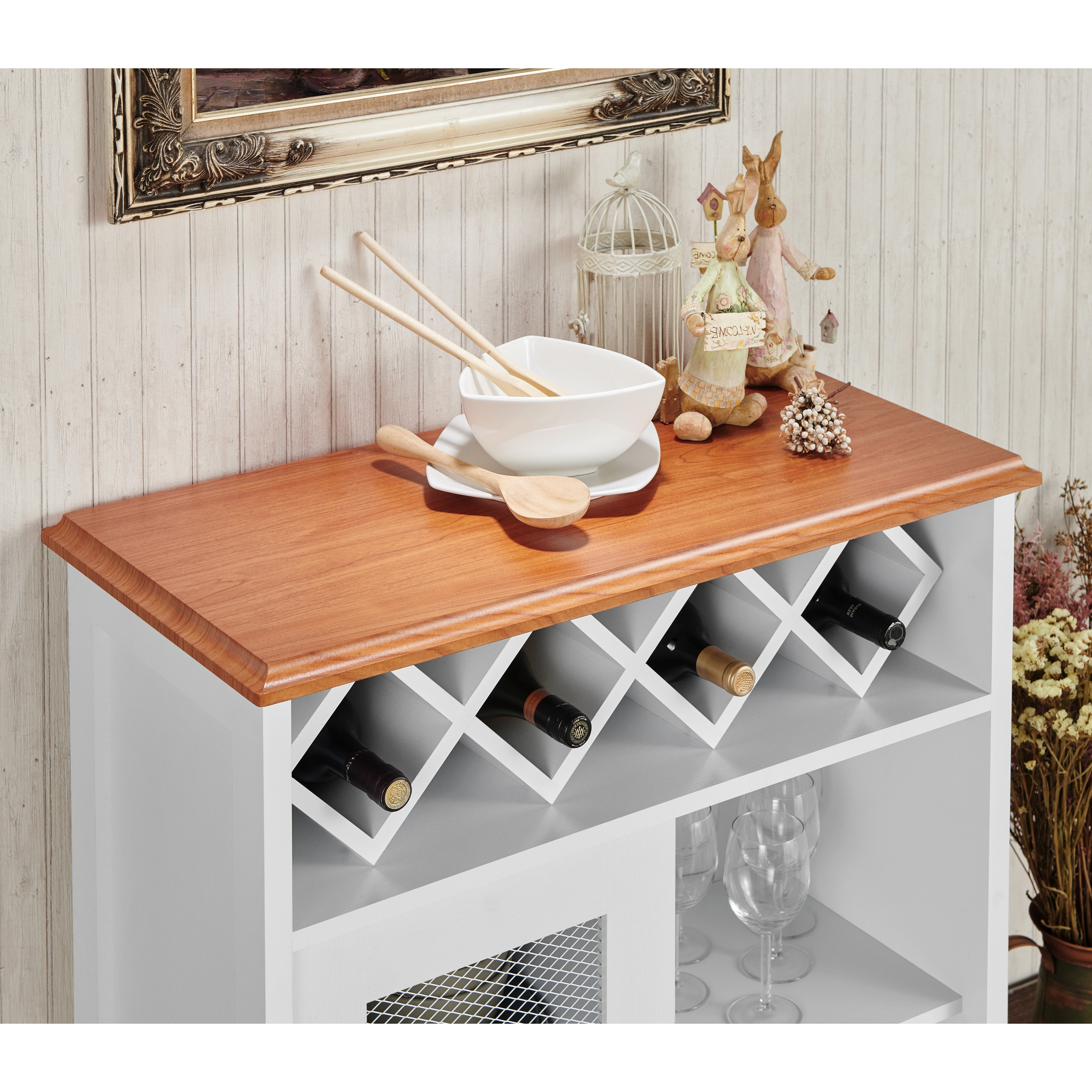 Furniture Of America Saucedo Rustic White Buffet With Wine Rack – N/a Throughout Saucedo Rustic White Buffets (View 5 of 20)