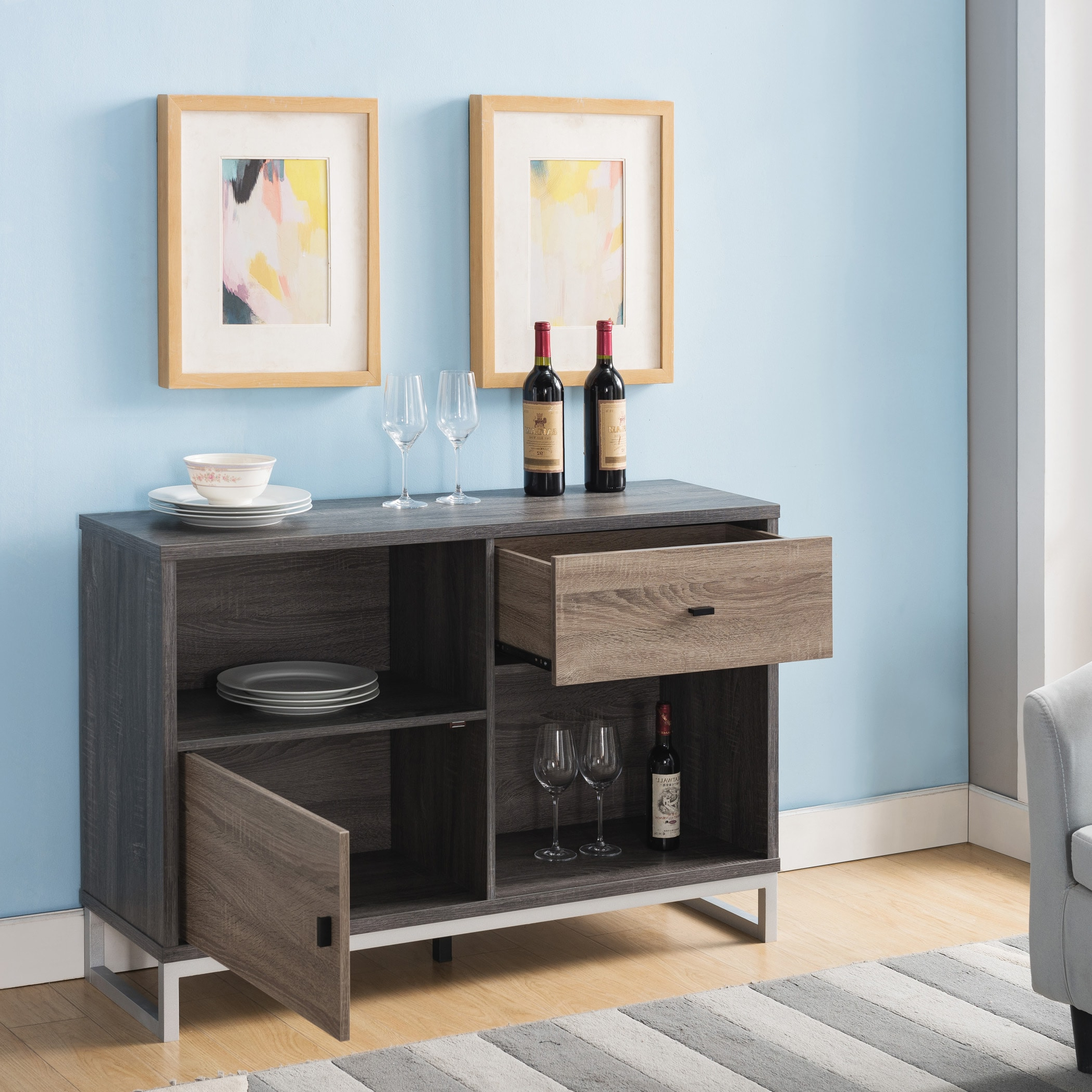 Furniture Of America Strille Modern Two Tone Storage Dining Serverfoa Pertaining To Light White Oak Two Tone Modern Buffets (View 14 of 20)