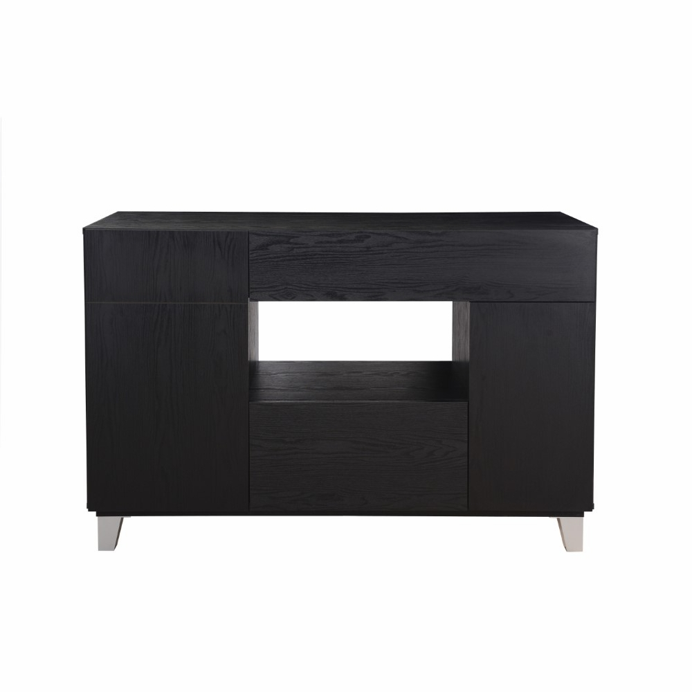 Furniture Of America – Tenda Modern Buffet In Black – Ynj 132 1 Within Modern Cappuccino Open Storage Dining Buffets (View 4 of 20)