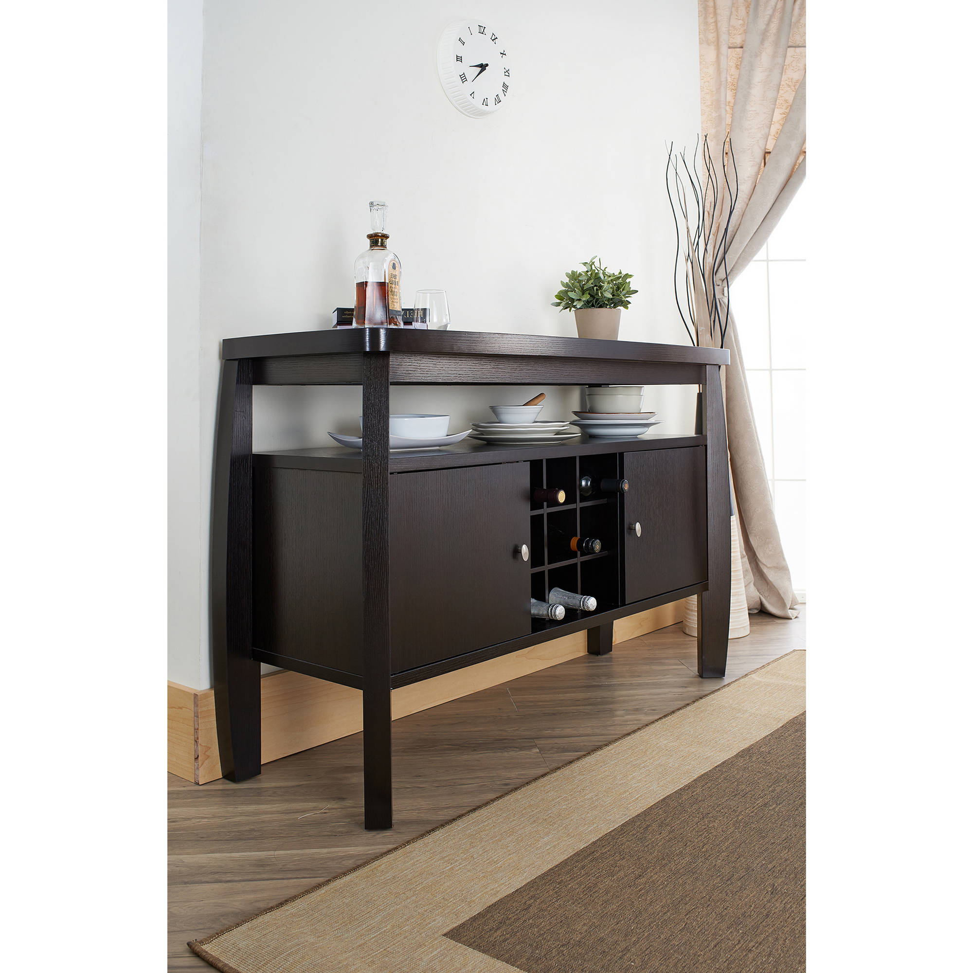 Furniture Of America Vera Contemporary Multi Storage Buffet Table, Espresso Intended For Contemporary Wine Bar Buffets (View 16 of 20)