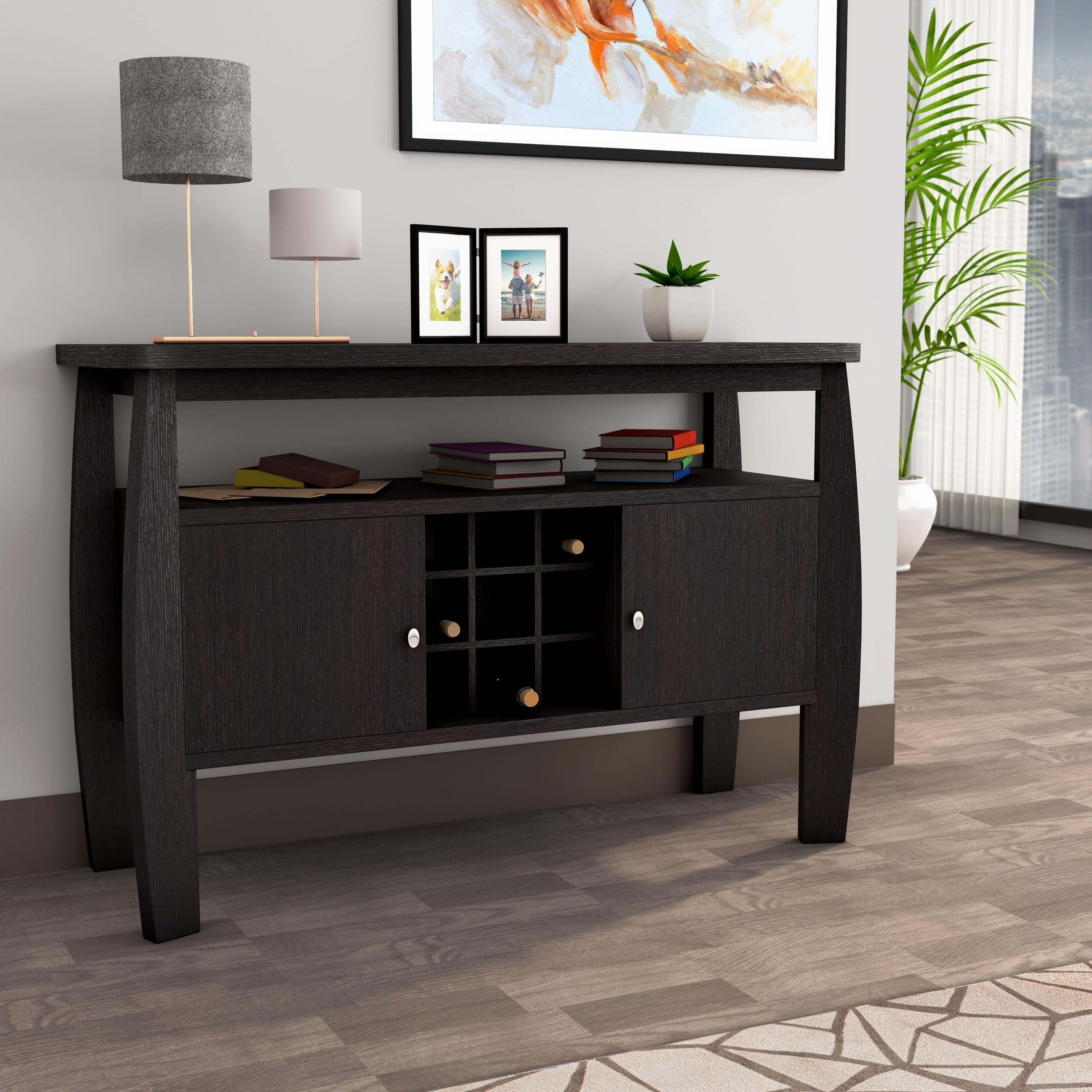 Furniture Of America Zarina Cappuccino Buffet Table With Modern Cappuccino Open Storage Dining Buffets (View 10 of 20)