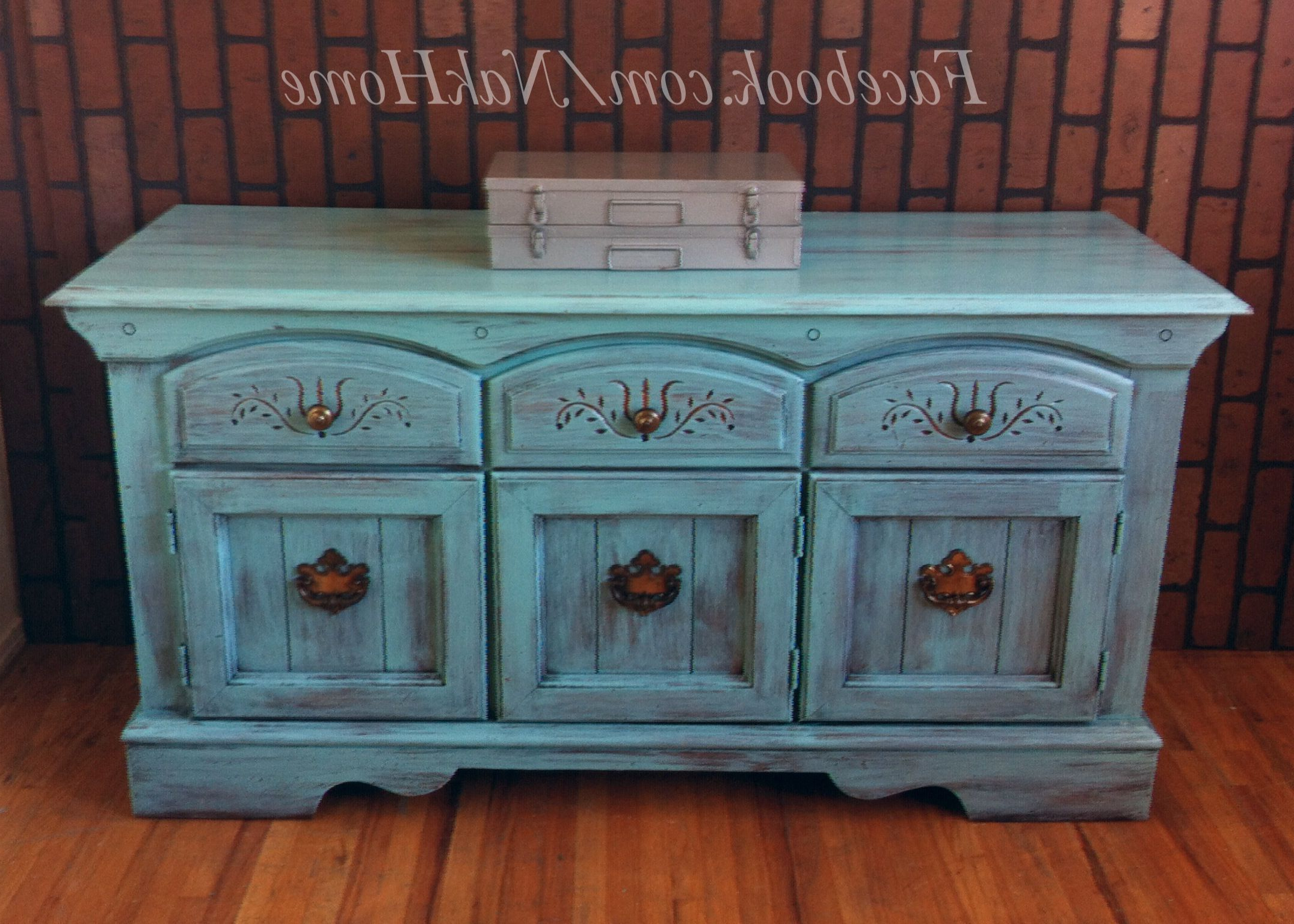 Furniture Upcycle Shabby Chic Turquoise Blue Vintage Buffet Within Papaya Burst Credenzas (View 13 of 20)