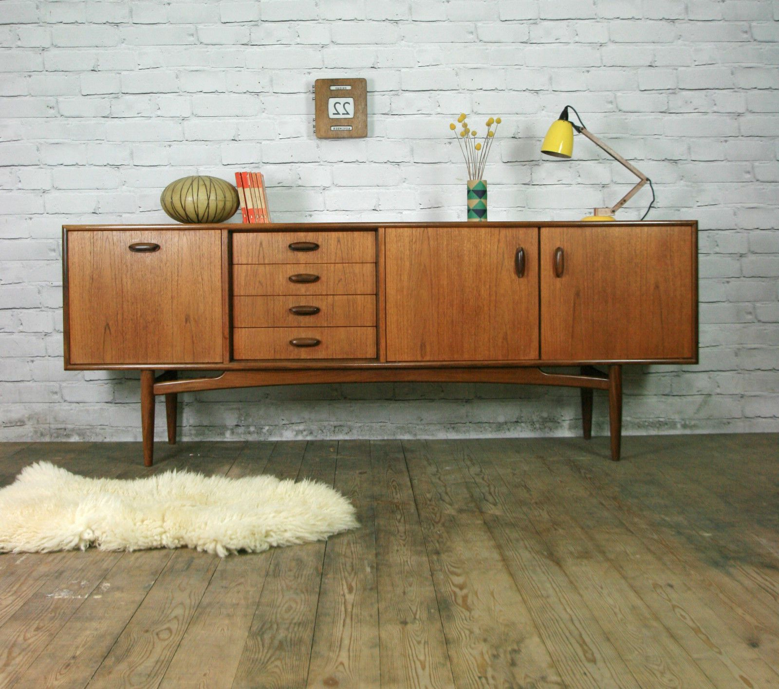 G Plan Retro Vintage Teak Mid Century Sideboard Eames Era Regarding Mid Century Retro Modern Oak And Espresso Wood Buffets (View 7 of 20)
