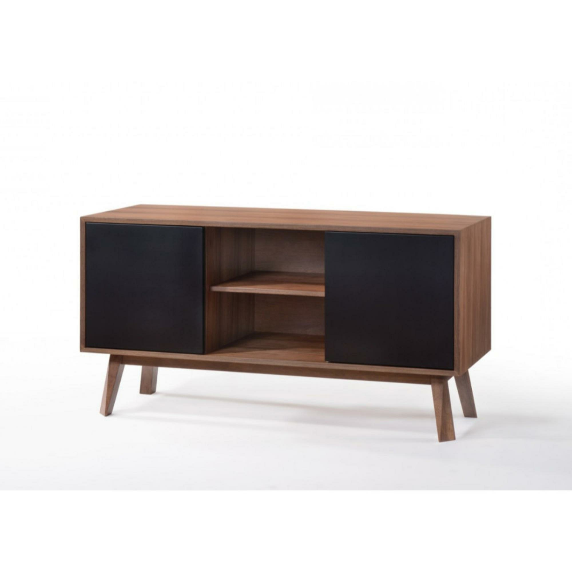 Gamboa Wooden Server Buffet Table Inside Contemporary Wooden Buffets With Four Open Compartments And Metal Tapered Legs (Gallery 6 of 20)