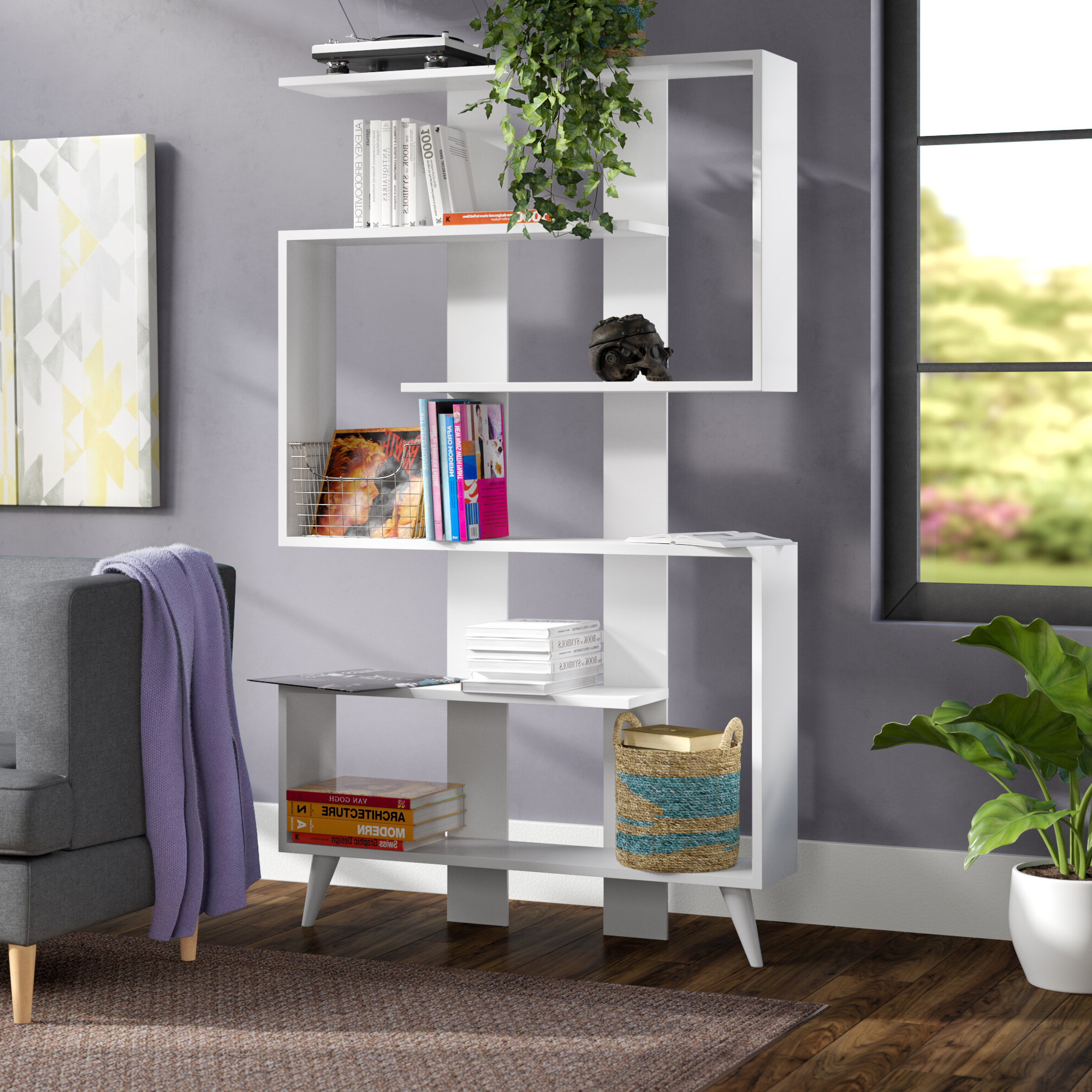 Gayton Modern Geometric Bookcase Intended For Carbon Loft Feleni Contemporary Buffets (Gallery 13 of 20)