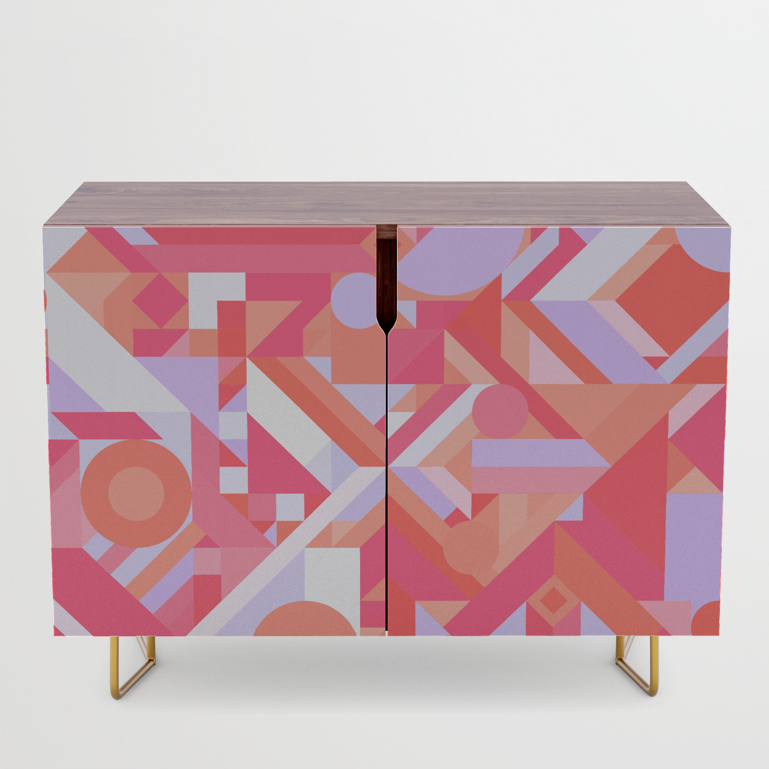 Geometry Shapes Pattern Print (Warm Red Lavender Color Scheme) Credenza With Regard To Geometric Shapes Credenzas (Gallery 15 of 20)