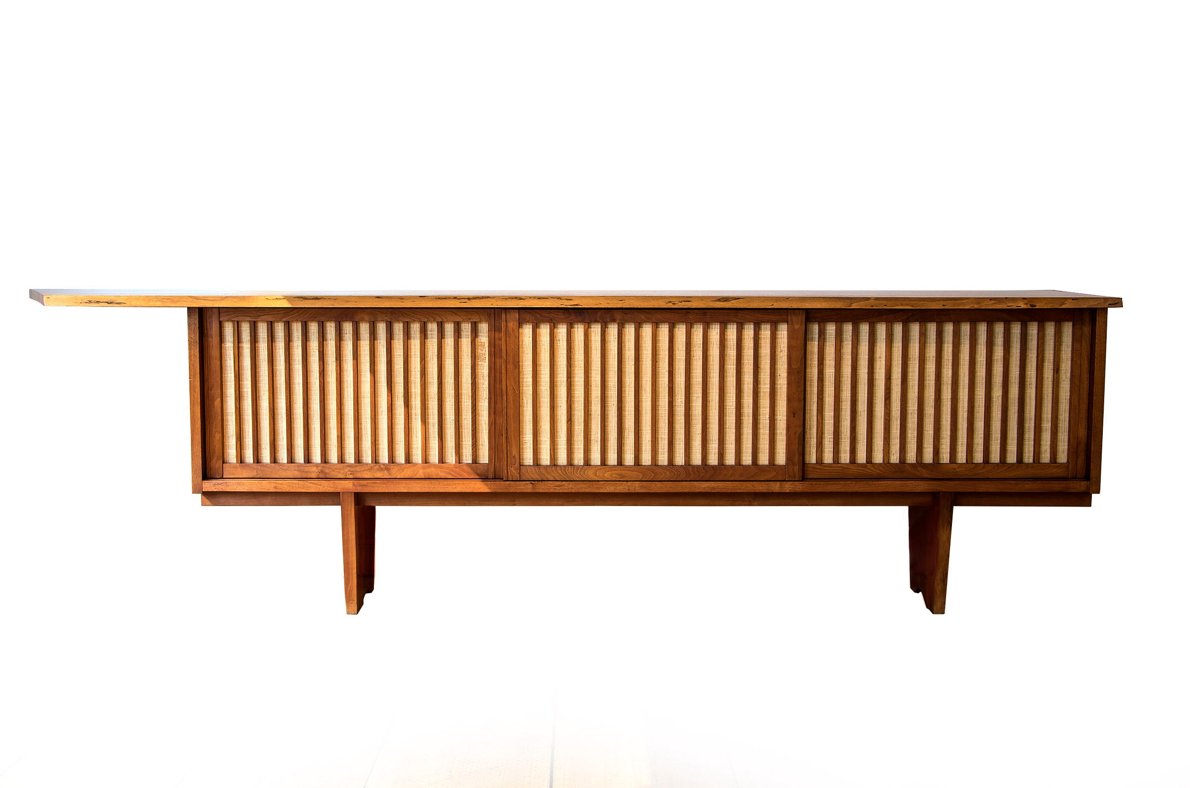 George Nakashima Three Door Credenza In American Walnut With Pandanus Cloth Intended For Southwestern Credenzas (Gallery 16 of 20)