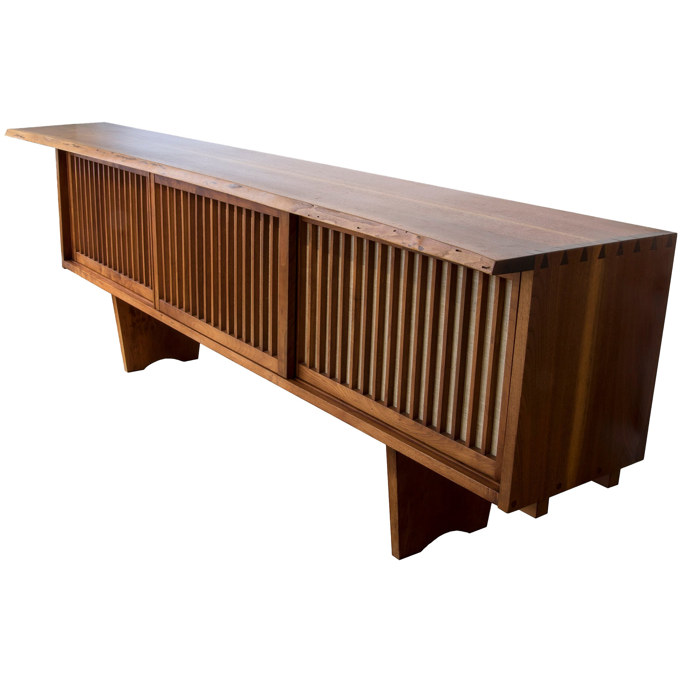 George Nakashima Three Door Credenza In American Walnut With Pandanus Cloth Within Southwestern Credenzas (Gallery 14 of 20)