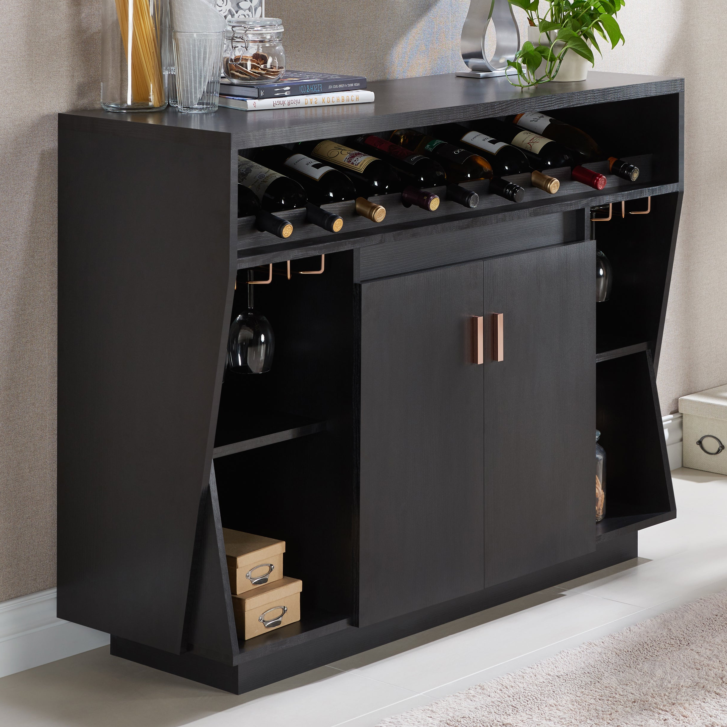 Gergich Contemporary 47 Inch Black Dining Buffetfoa Pertaining To Contemporary Black Dining Buffets (View 12 of 20)