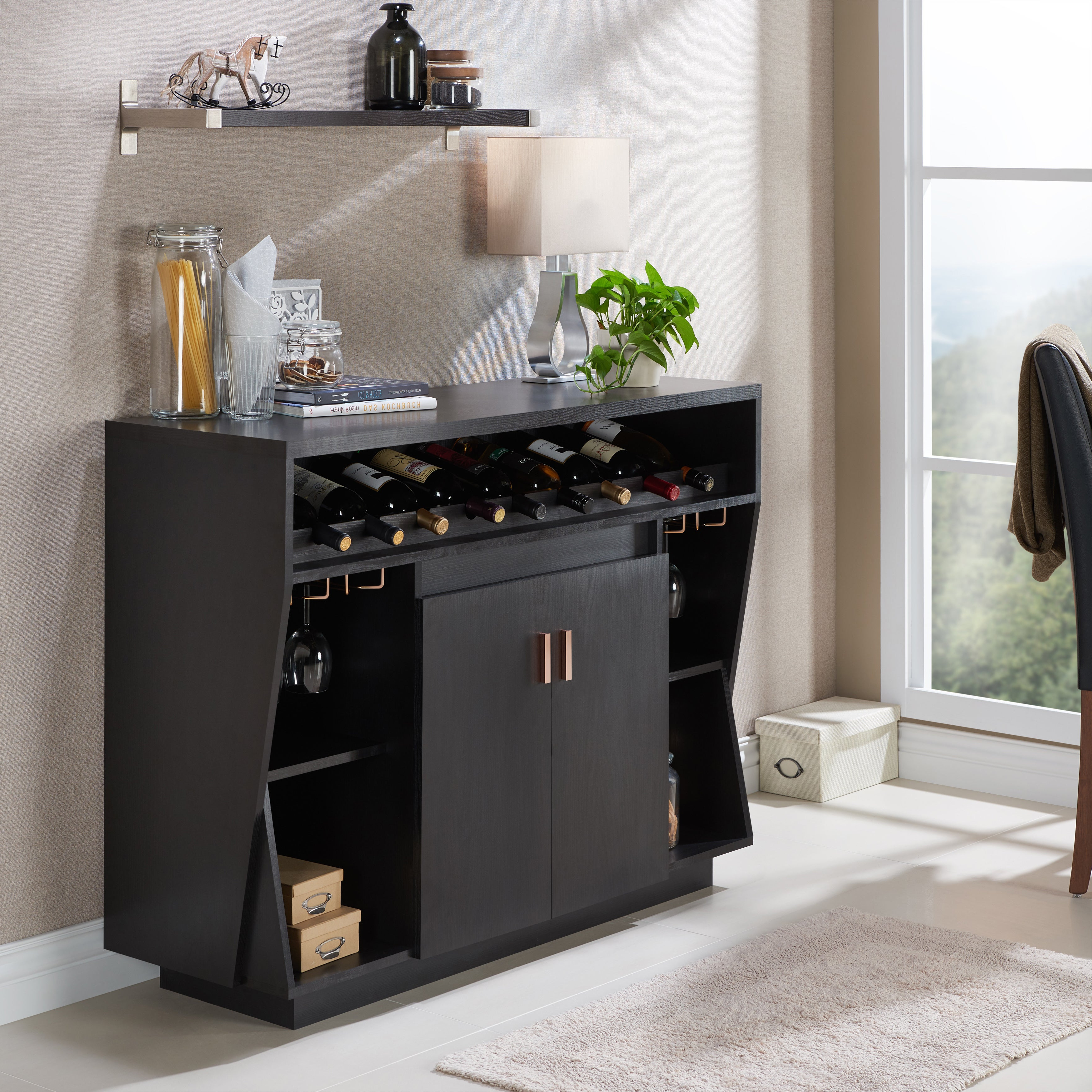 Gergich Contemporary 47 Inch Black Dining Buffetfoa With Regard To Contemporary Black Dining Buffets (View 12 of 20)