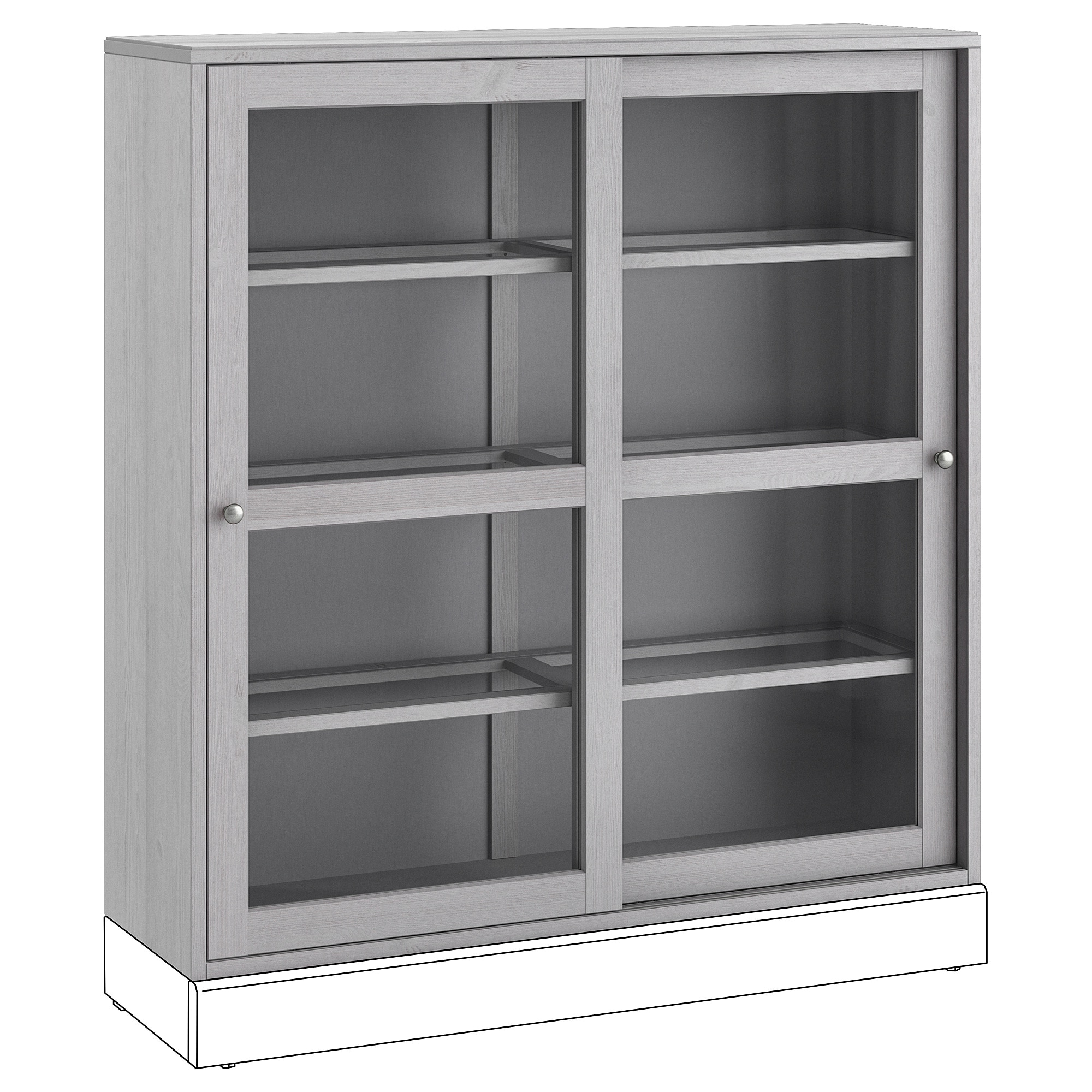Glass Door Cabinet Havsta Gray Inside Glass Sliding Door Stackable Buffets (View 6 of 20)