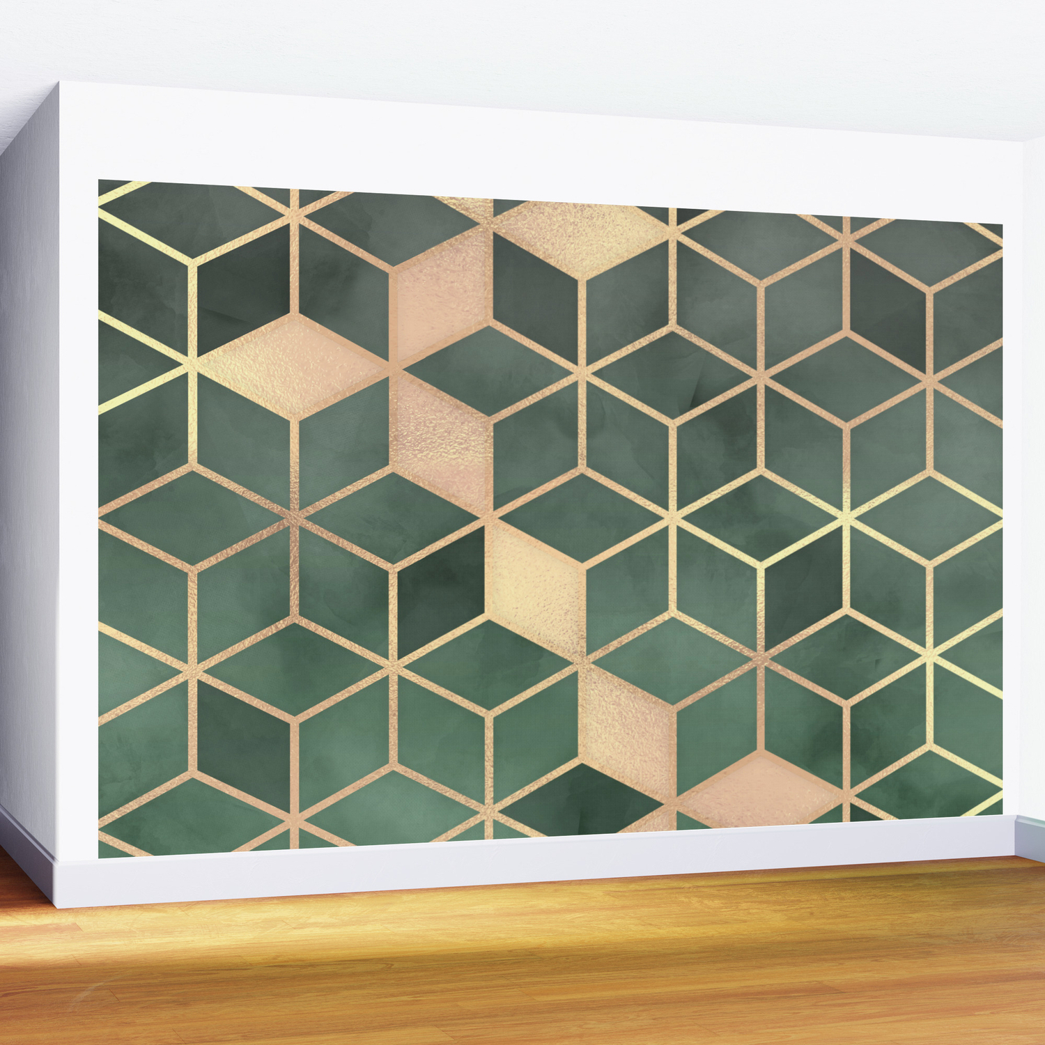 Gold Emerald Green Gradient Cube Art Print Wall Mural Intended For Emerald Cubes Credenzas (Gallery 18 of 20)