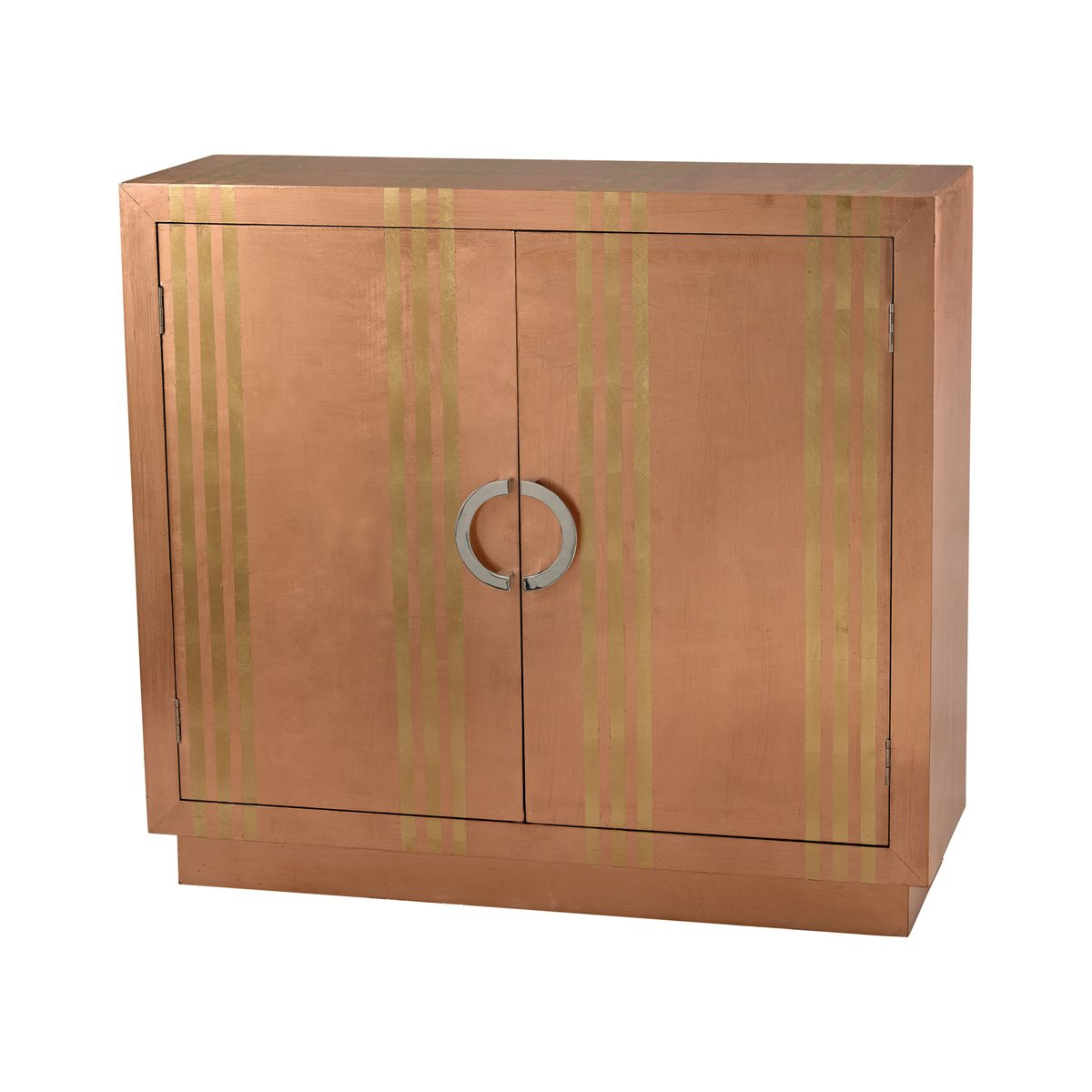 Gold Stripe Copper Cabinet Pertaining To Copper Leaf Wood Credenzas (View 14 of 20)