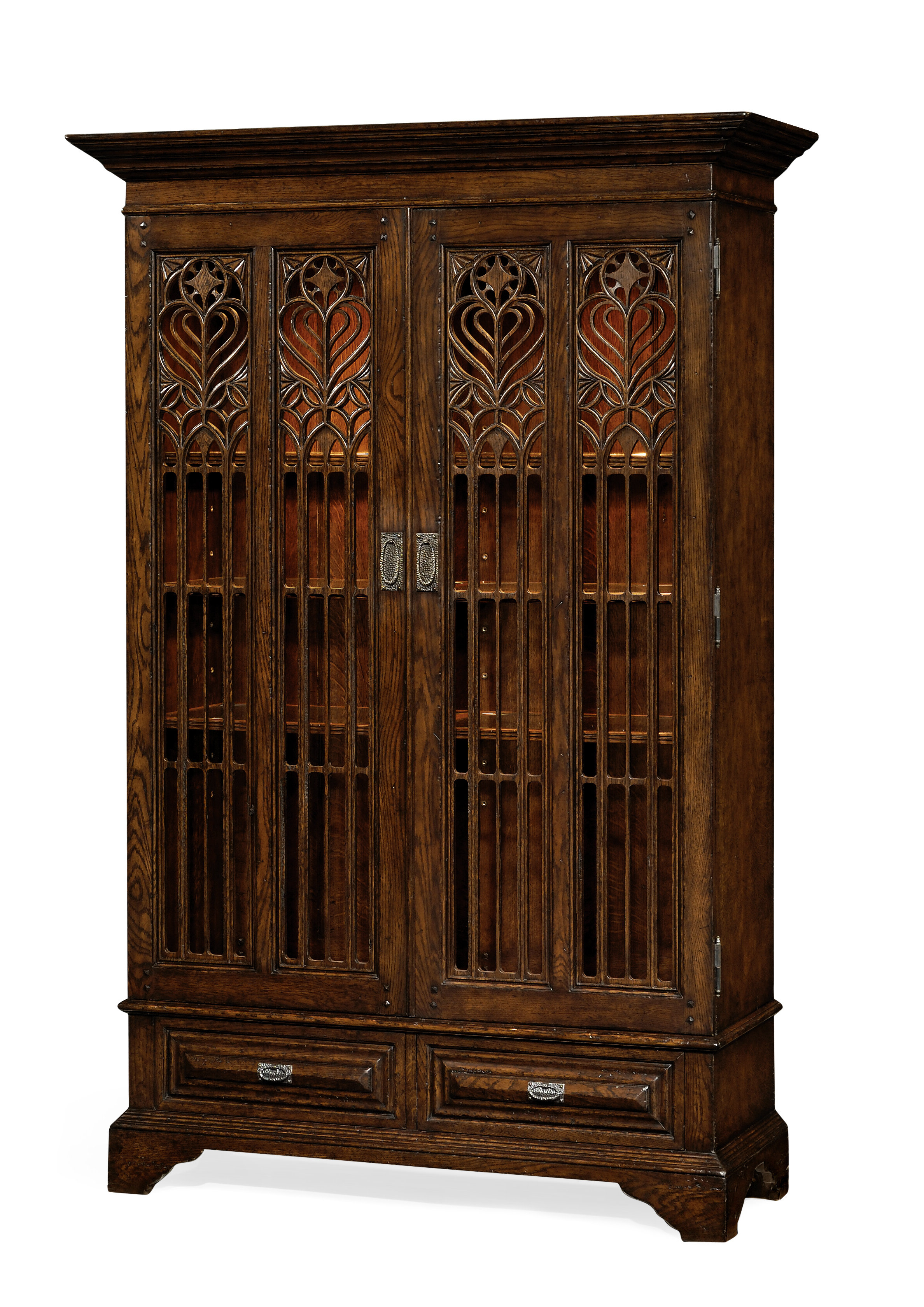 Gothic Lighted Curio Cabinet For Symmetric Blue Swirl Credenzas (View 10 of 20)
