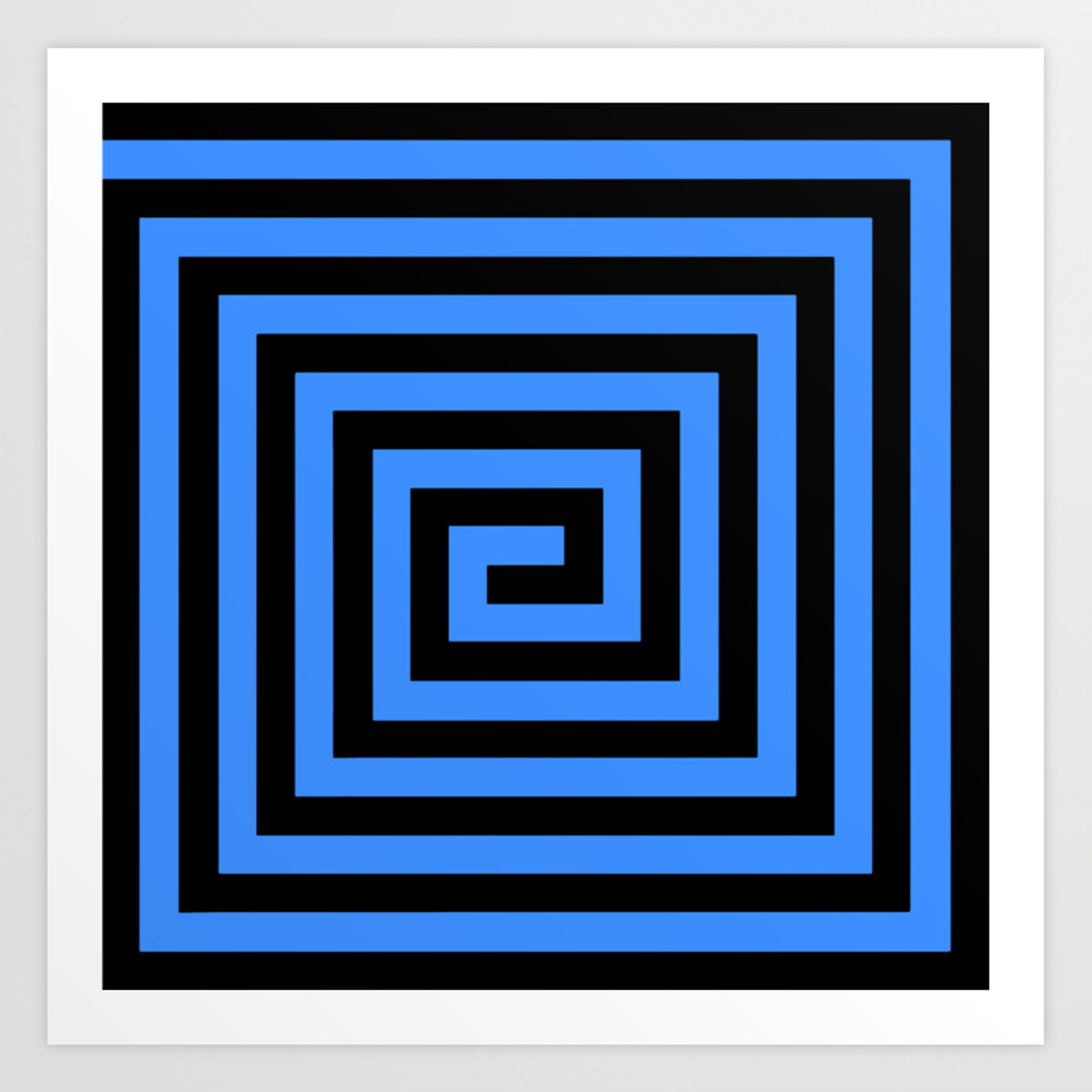Graphic Grid Swirl Abstract Design (Black And Blue) Series 1 Of 6 Art Print Pertaining To Symmetric Blue Swirl Credenzas (Gallery 12 of 20)