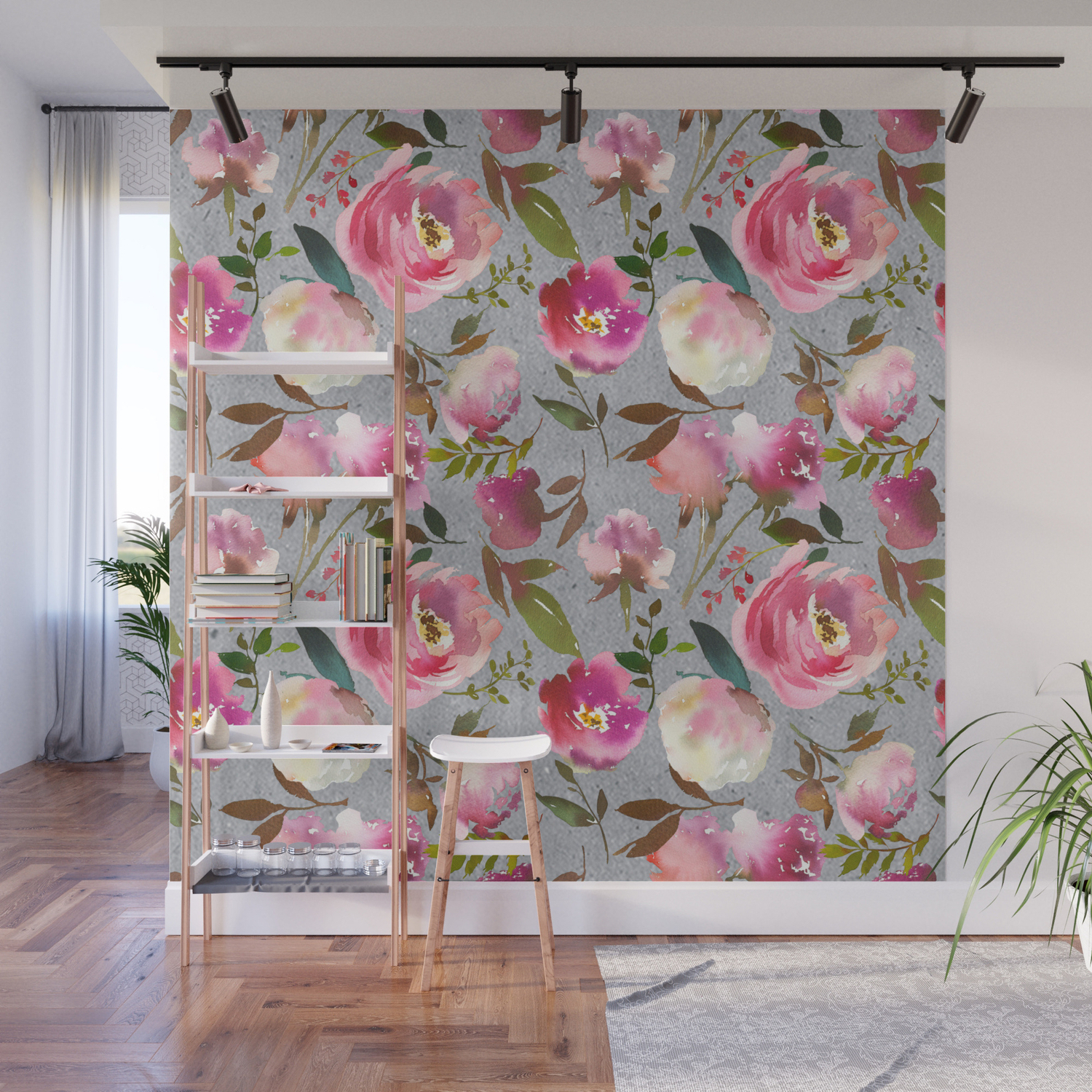 Gray Blush Pink Coral Yellow Hand Painted Floral Wall Mural Throughout Floral Blush Yellow Credenzas (Gallery 9 of 20)