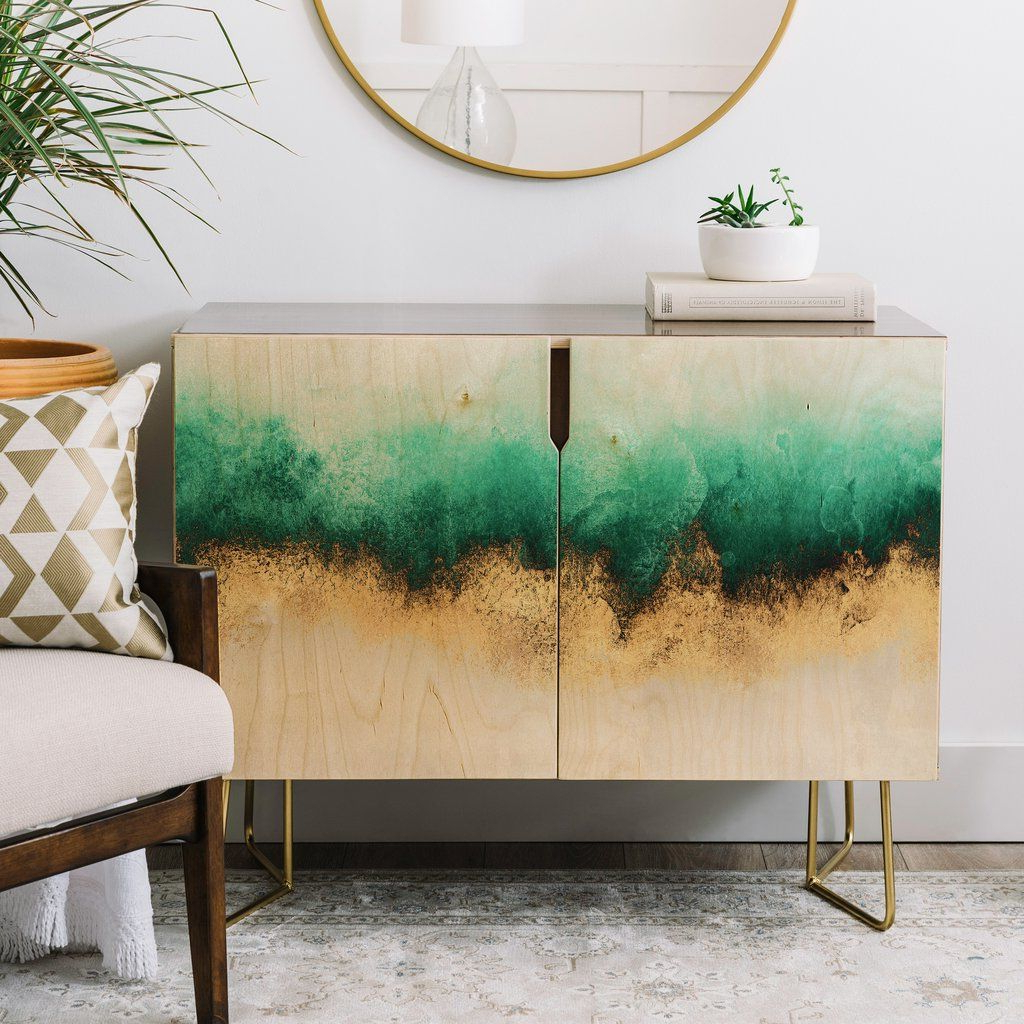 Green And Gold Sky Credenza Elisabeth Fredriksson | Real With Turquoise Skies Credenzas (Gallery 12 of 20)