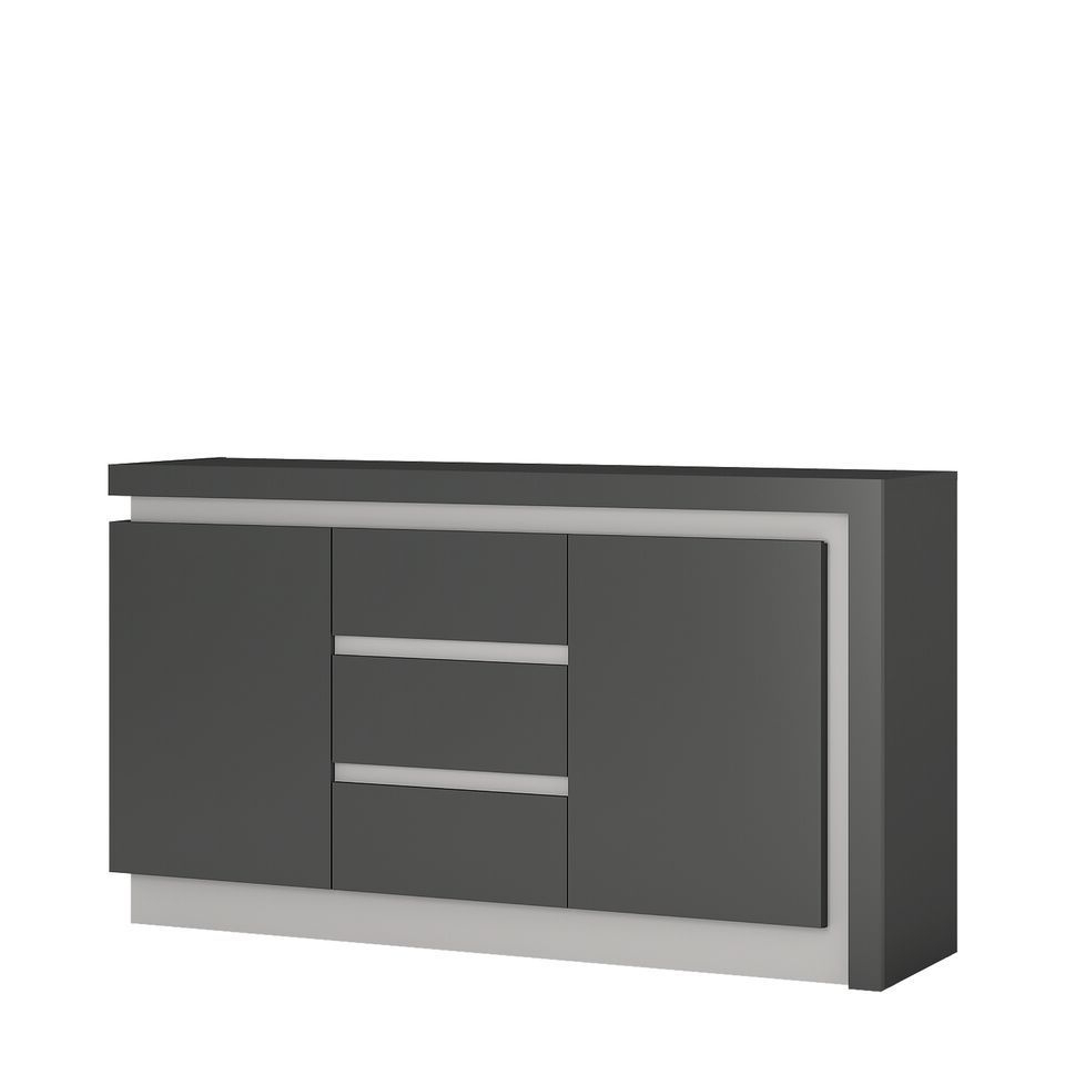 Grey High Gloss 2 Door 3 Drawer Sideboard Pertaining To White And Grey Sideboards (Gallery 10 of 20)