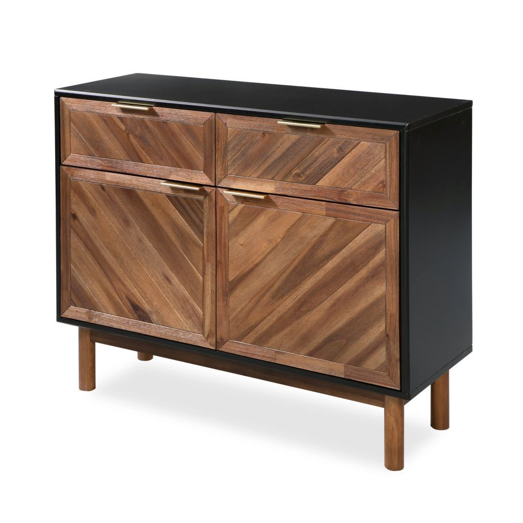 H4home Mid Century Modern Sideboard Cabinet Solid Acacia Wood Black & Brown Intended For Mid Century Brown Sideboards (View 3 of 20)