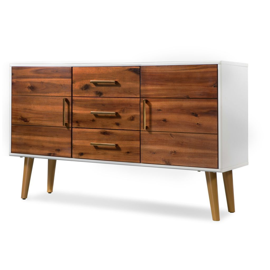 H4Home Mid Century Modern Sideboard Cabinet Solid Acacia Wood Scandinavian  Style With Mid Century Modern Scandinavian Style Buffets (View 7 of 20)