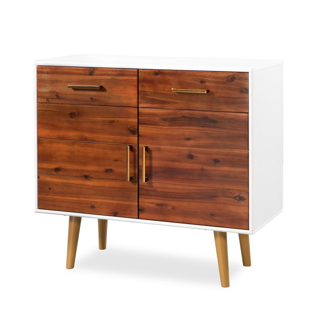 H4Home Mid Century Modern Sideboard Solid Acacia Wood Scandinavian Style Inside Mid Century Modern Scandinavian Style Buffets (View 9 of 20)