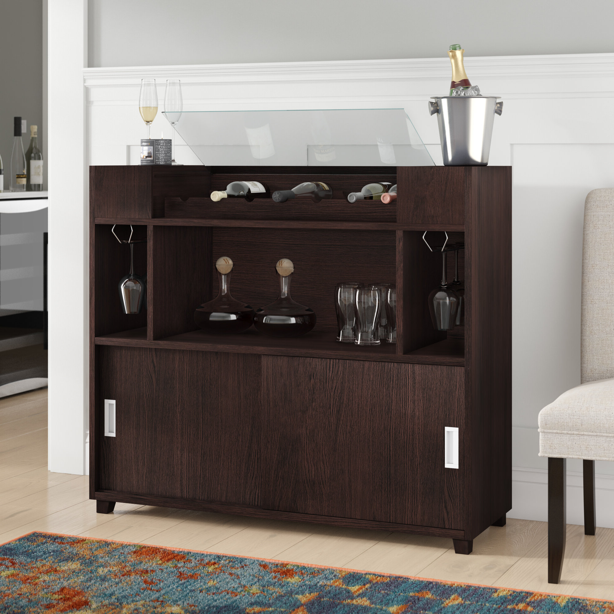 Hailee Buffet Table Regarding Contemporary Espresso Dining Buffets (View 15 of 20)