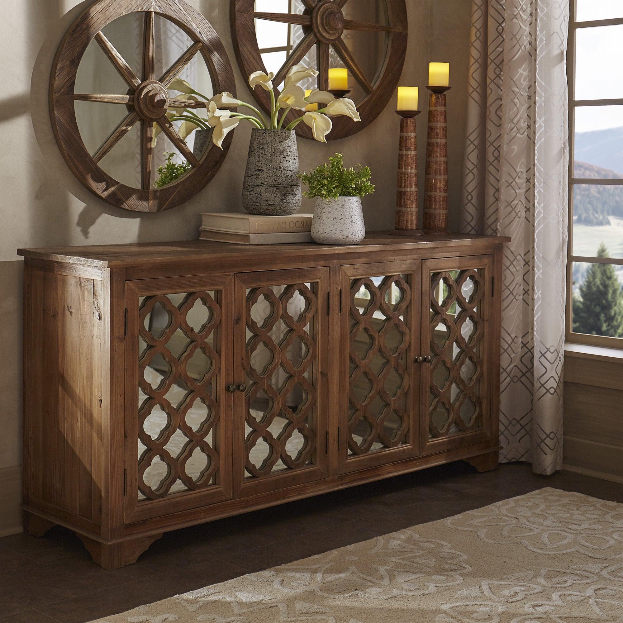 Hamptons Quatrefoil Reclaimed Wood Mirrored Buffet Sideboard Cabinet Inspire Q Artisan Inside Mirrored Double Door Buffets (View 8 of 20)