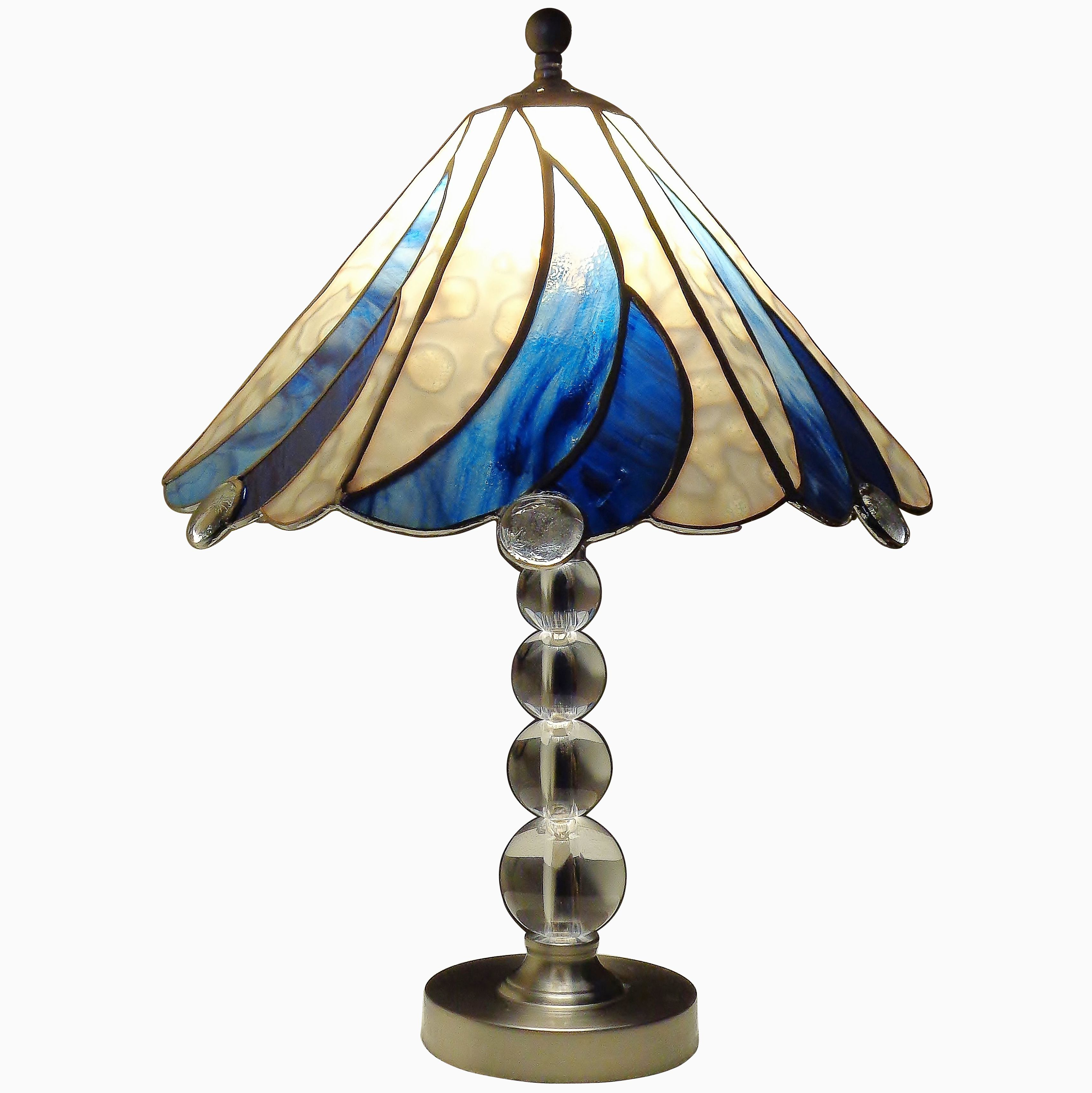 Hand Crafted Blue And White Swirl Lamp Stained Glass With Regard To Symmetric Blue Swirl Credenzas (View 19 of 20)