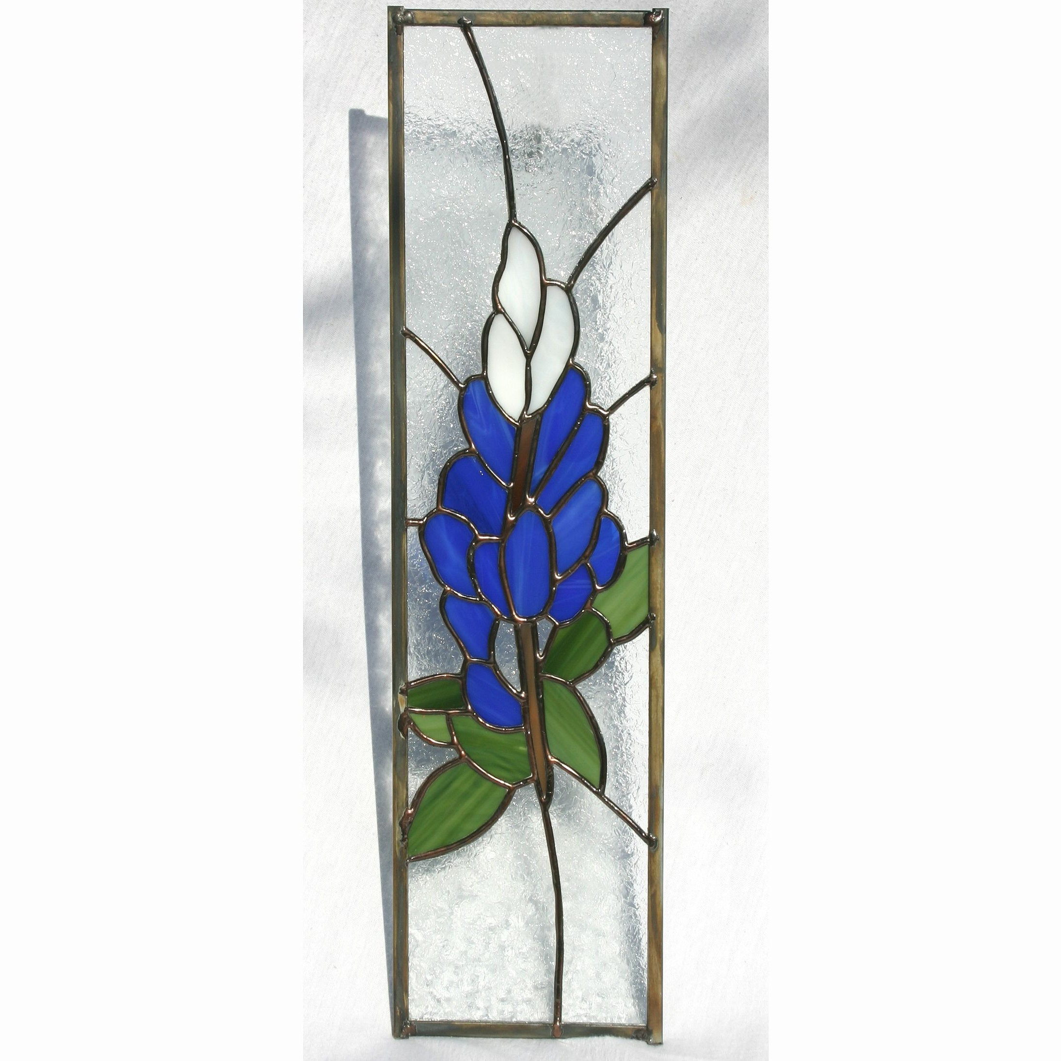 Handmade Blue Bonnet Stained Glass Panel Cabinet Inserta For Blue Stained Glass Credenzas (View 7 of 20)