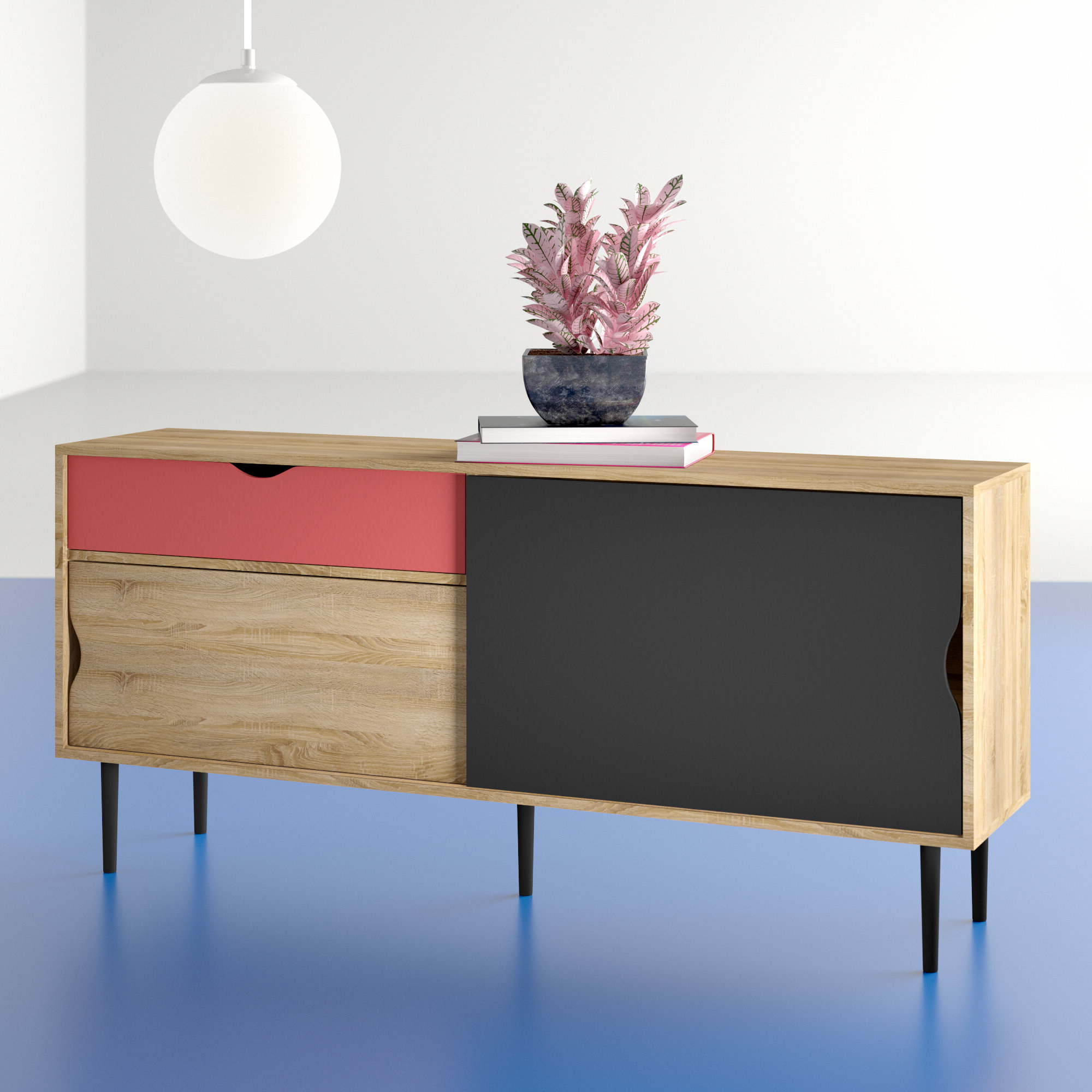 Hashtag Home Dovray Buffet Table & Reviews | Wayfair With Regard To Mid Century Modern Glossy White Buffets (View 6 of 20)