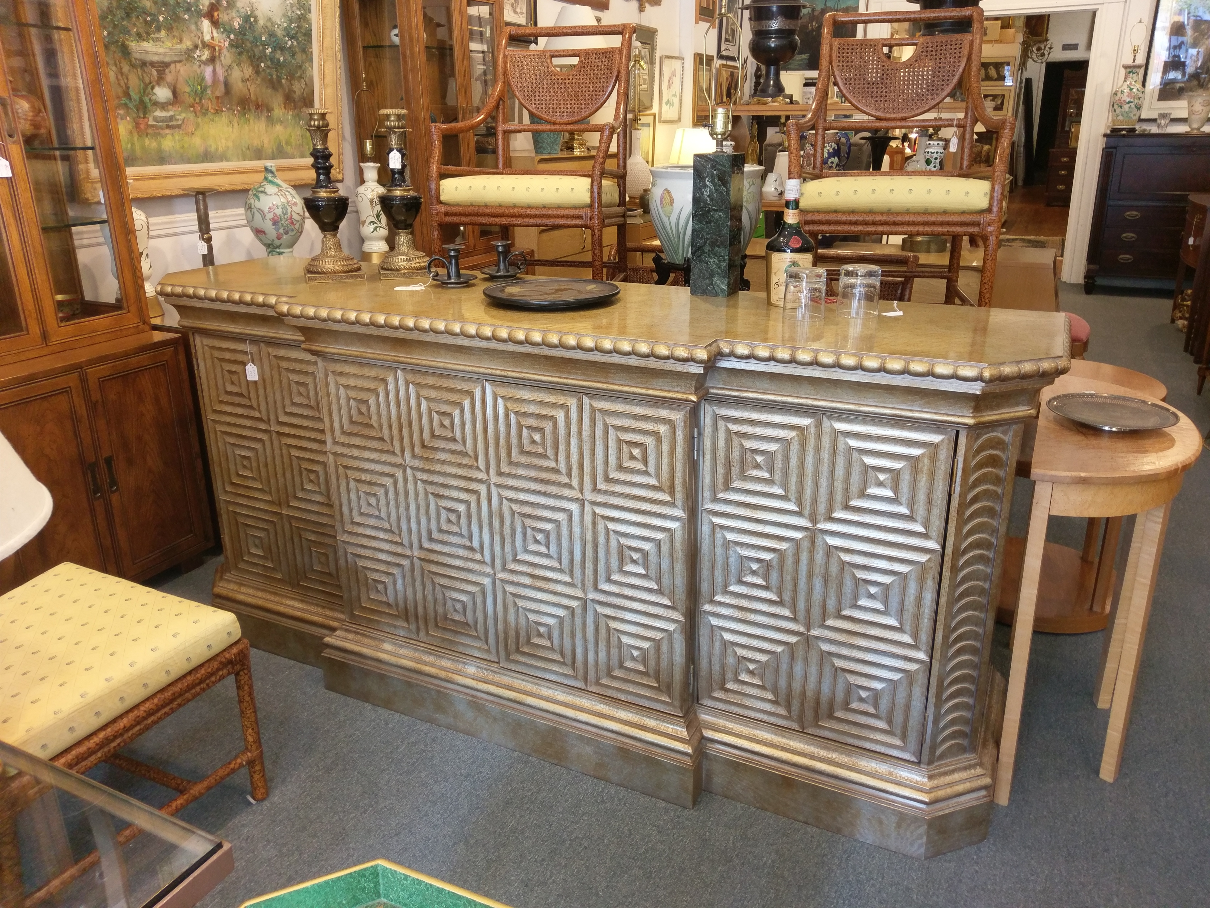 Hickory White Large Geometric Console / Credenza / Server Intended For White Geometric Buffets (View 12 of 20)