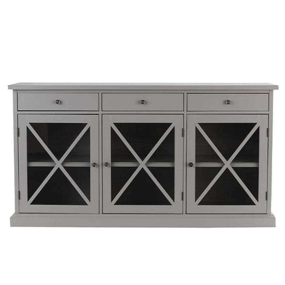 Home Decorators Collection Hampton Grey Buffet Sk17912Ar2 G Throughout 3 Drawer Storage Buffets (View 11 of 20)