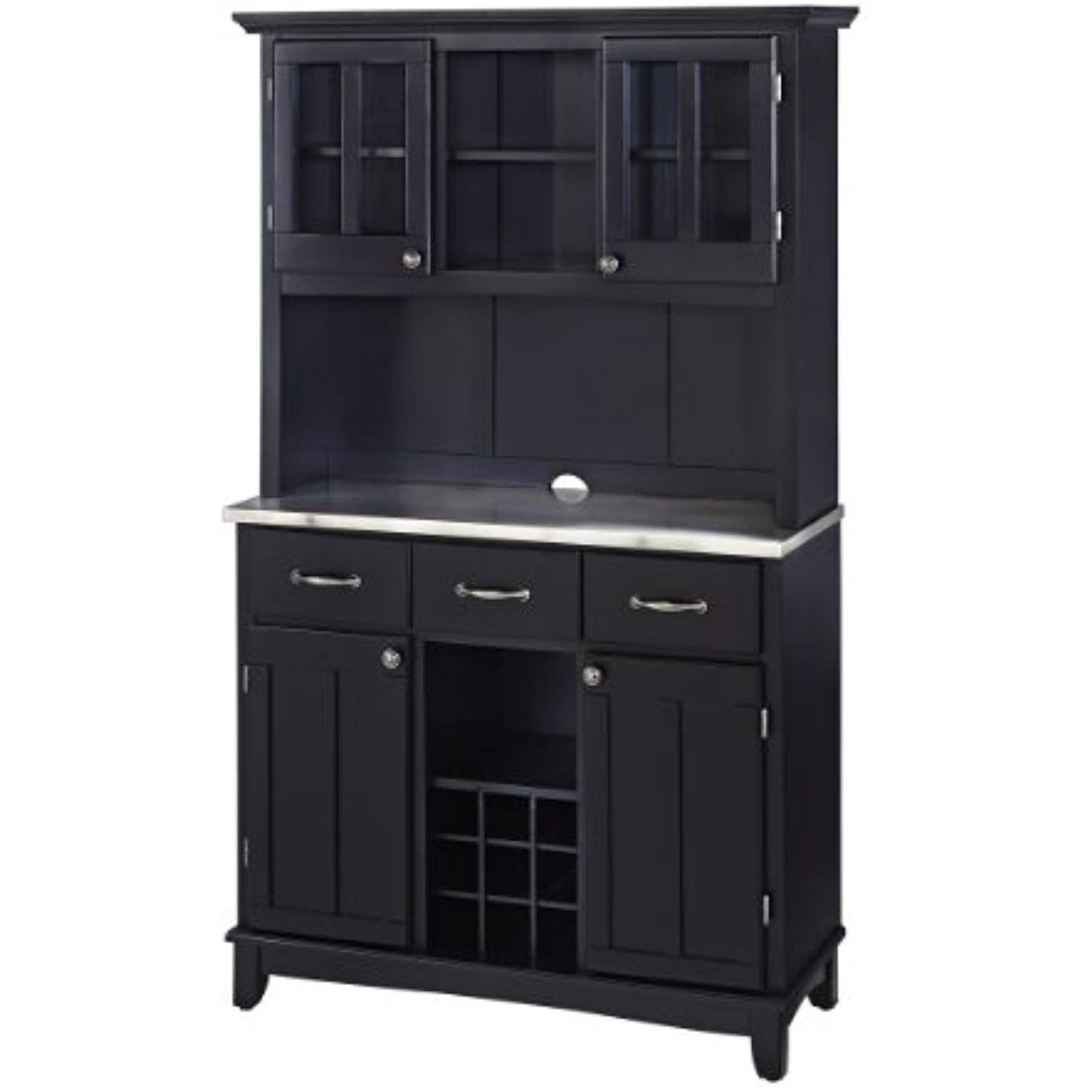 Home Styles 5100 0043 42 Buffet Of Buffets Stainless Steel Within Black Hutch Buffets With Stainless Top (View 11 of 20)