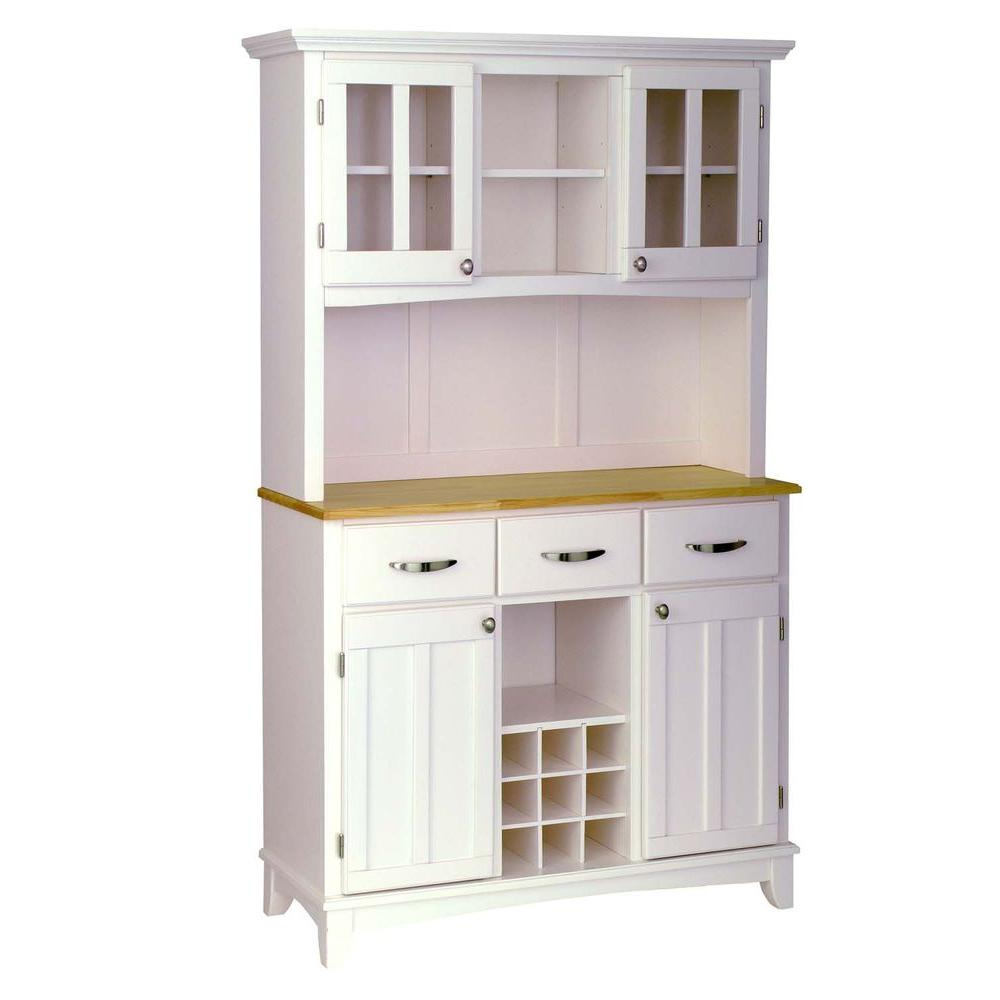 Home Styles White And Natural Buffet With Hutch 5100 0021 12 Pertaining To Medium Buffets With Wood Top (View 7 of 20)