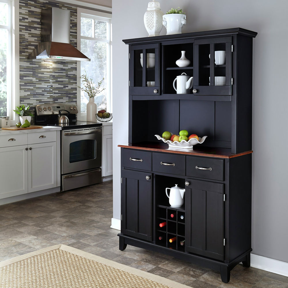 Homestyles Black Buffet Of Buffet With Cherry Wood Top And Hutch Inside Buffets With Cherry Finish (View 18 of 20)