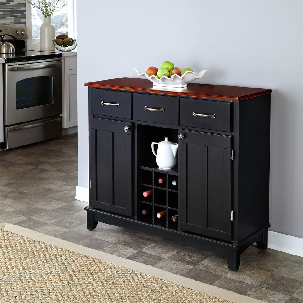 Homestyles Black Buffet Of Buffet With Cherry Wood Top For Medium Cherry Buffets With Wood Top (View 16 of 20)