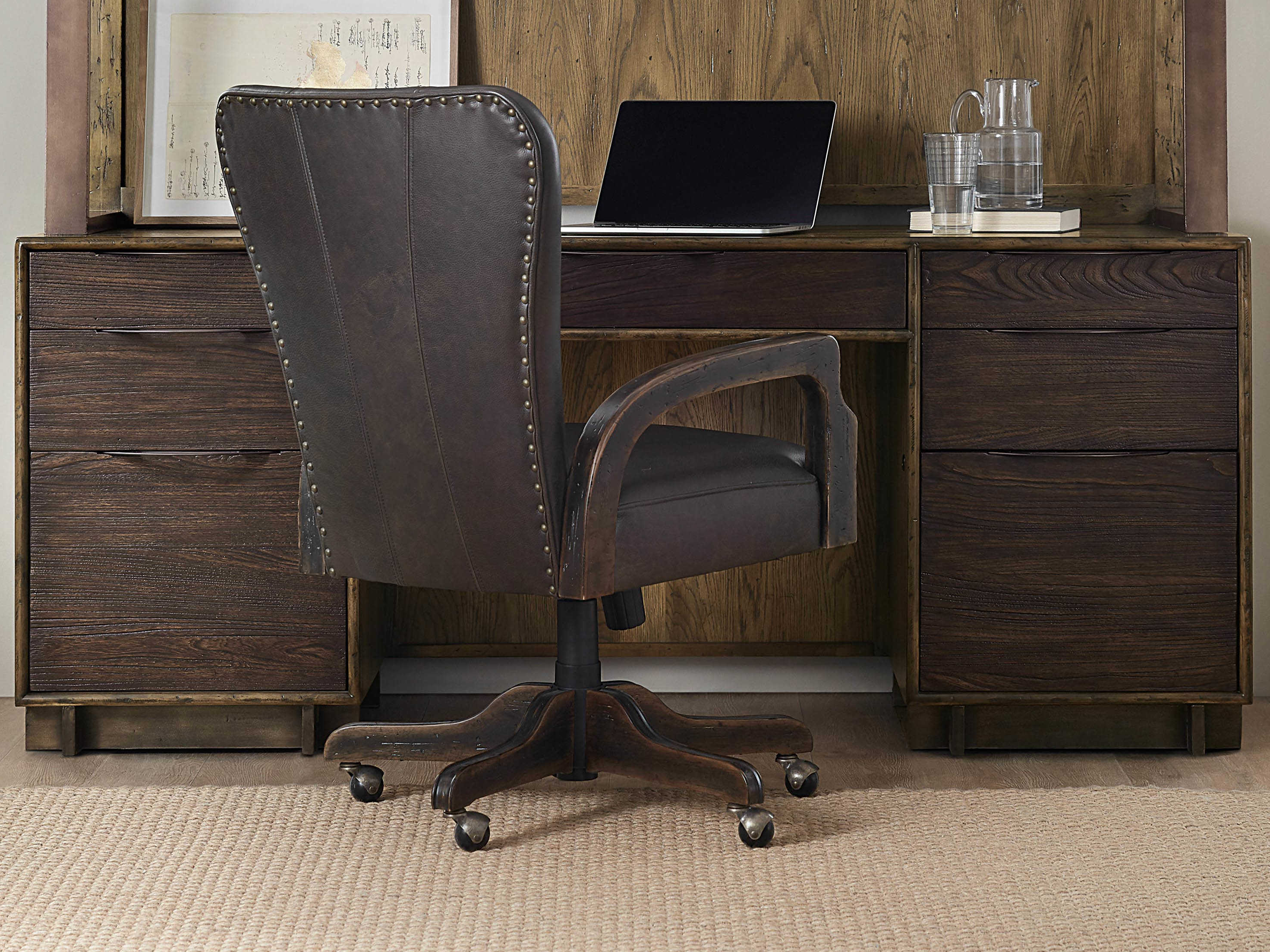 Hooker Furniture American Life – Crafted Dark Wood Credenza Desk With Copper Leaf Wood Credenzas (View 15 of 20)