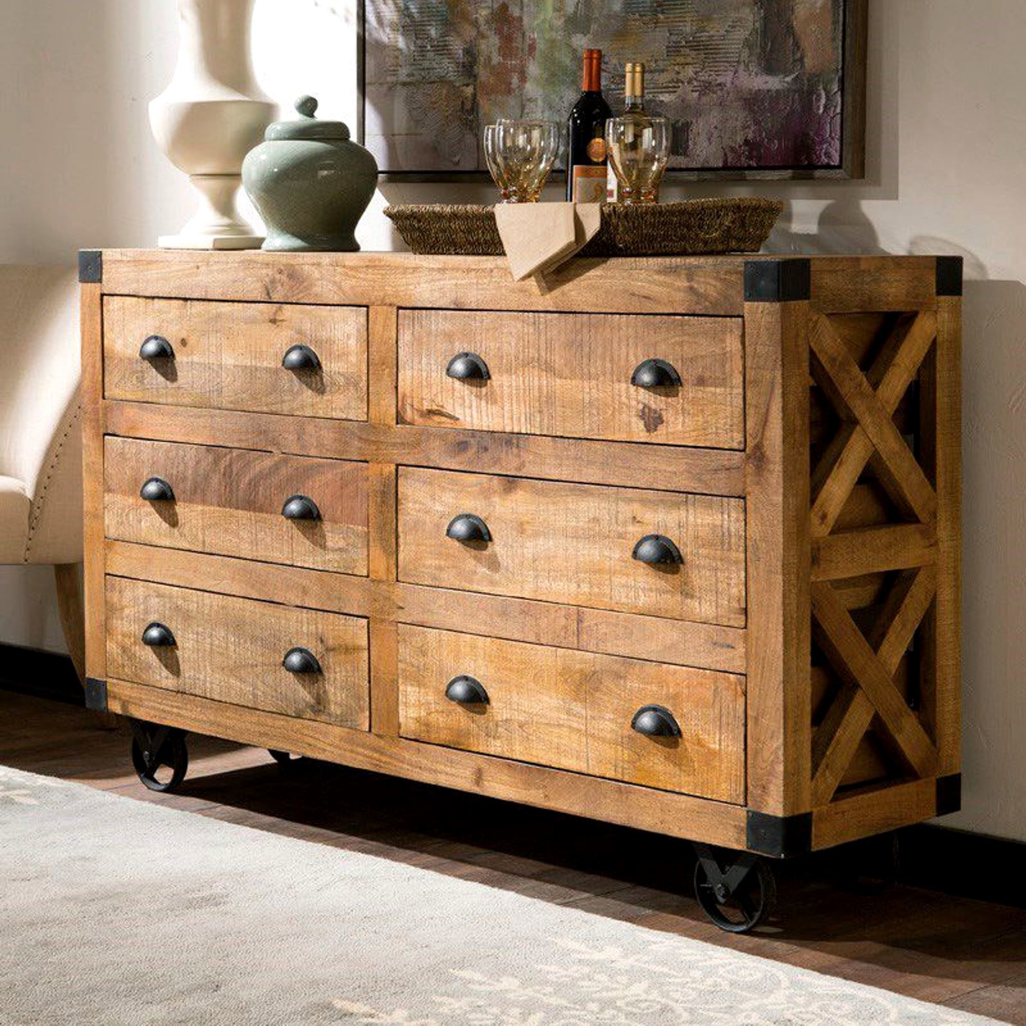 Industrial Design Buffet Storage Drawer Cabinet With Metal Casters In Industrial Style 3 Drawer Buffets (View 7 of 20)