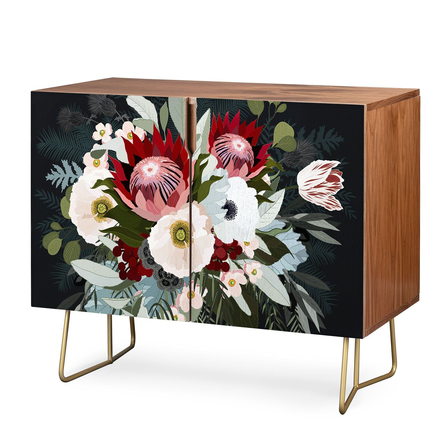 Iveta Abolina Adeline Moon Green, Red, Floral, Modern With Regard To Purple Floral Credenzas (View 9 of 20)