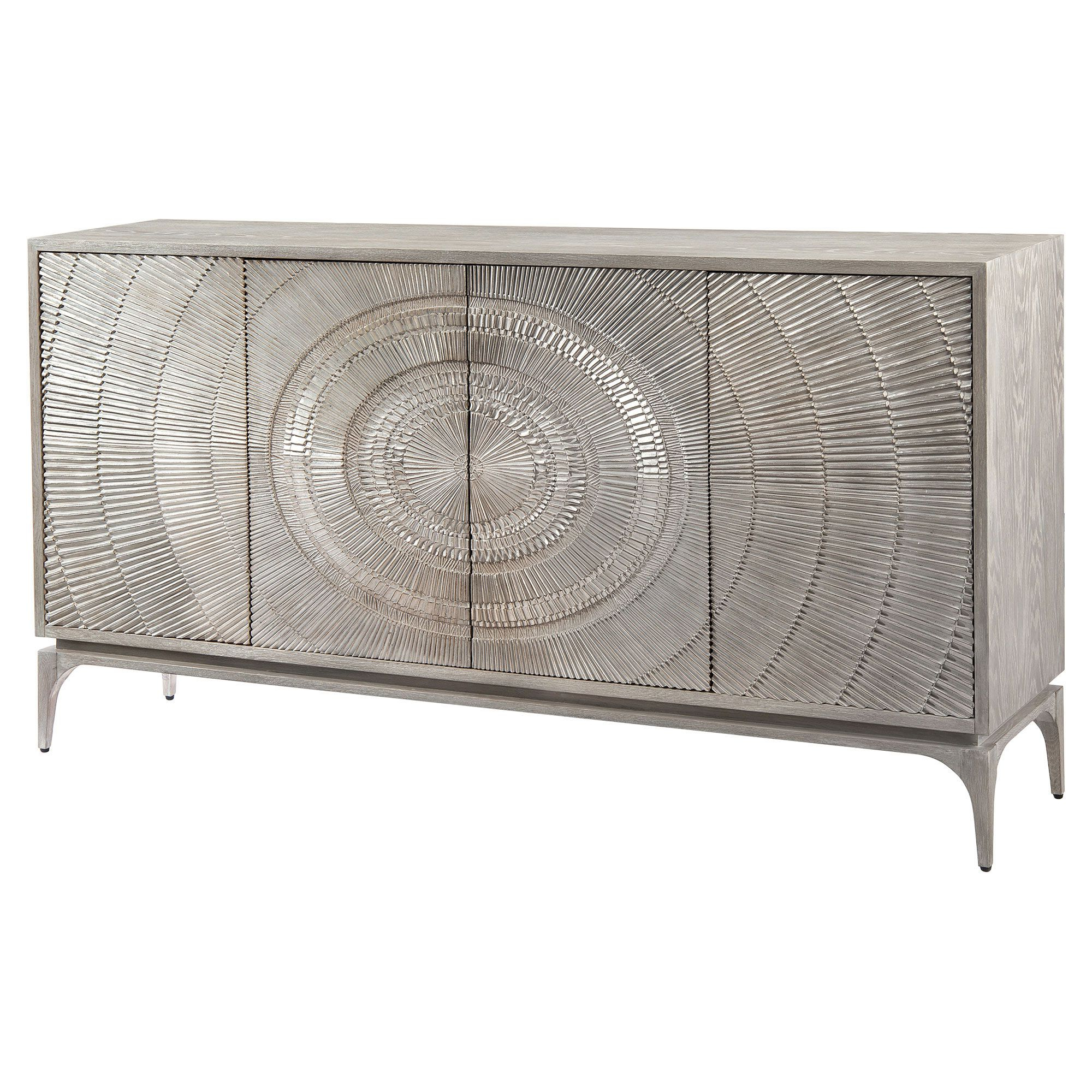 John Richard Laila Regency Radiating Silver Grey Oak Intended For Contemporary Wooden Buffets With Four Open Compartments And Metal Tapered Legs (View 14 of 20)