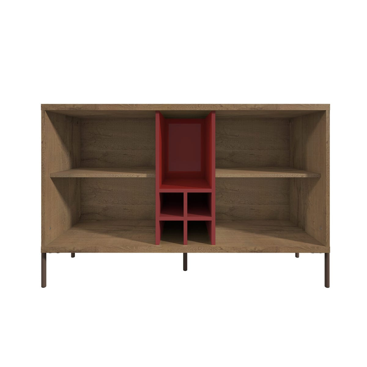 Joy Red & Off White 4 Bottle Wine Buffet Standmanhattan Comfort Pertaining To Modern Red Buffets (Gallery 13 of 20)