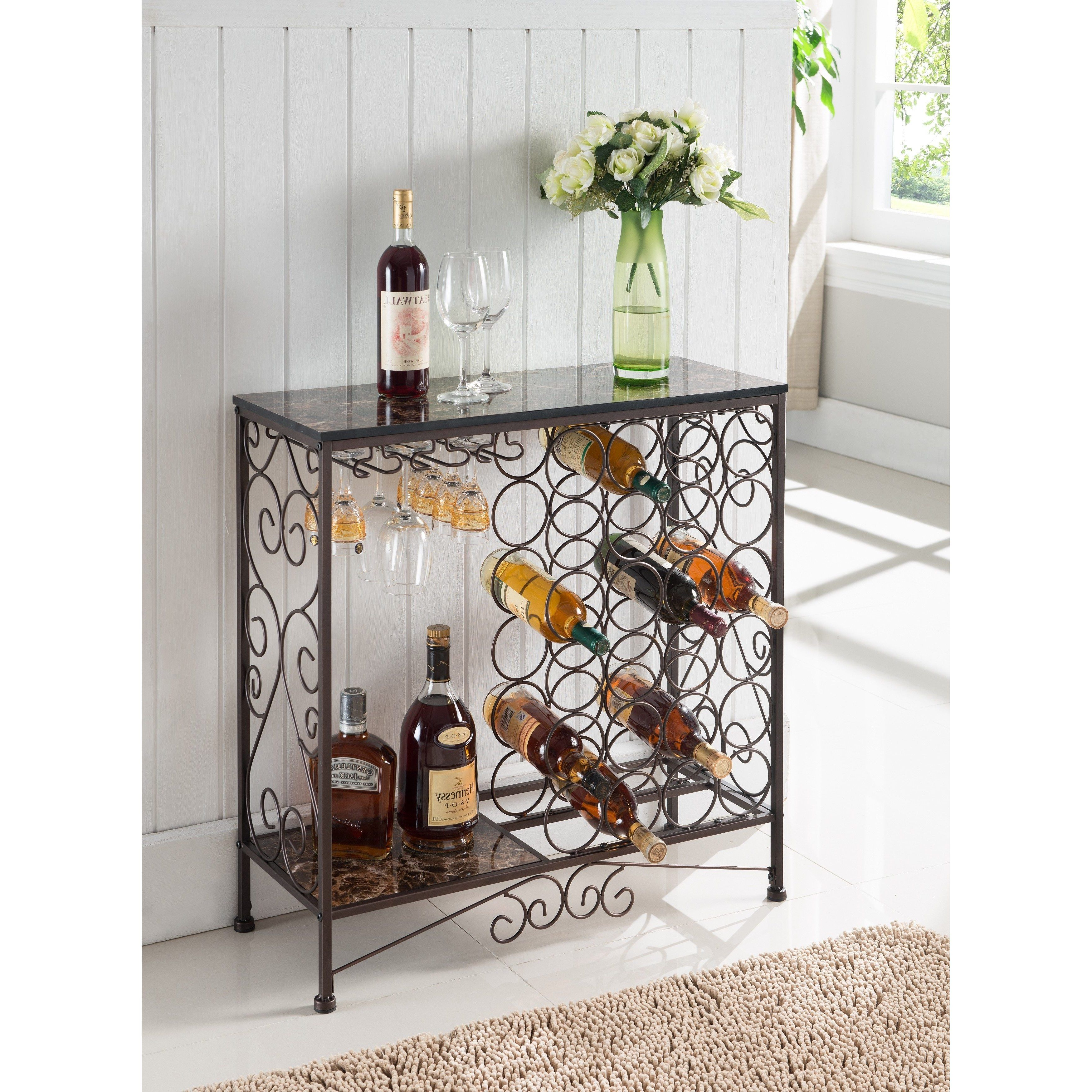K And B Furniture Co Bronze Metal Storage Wine Rack (Buffet Inside Buffets With Bottle And Glass Storage (Gallery 2 of 20)