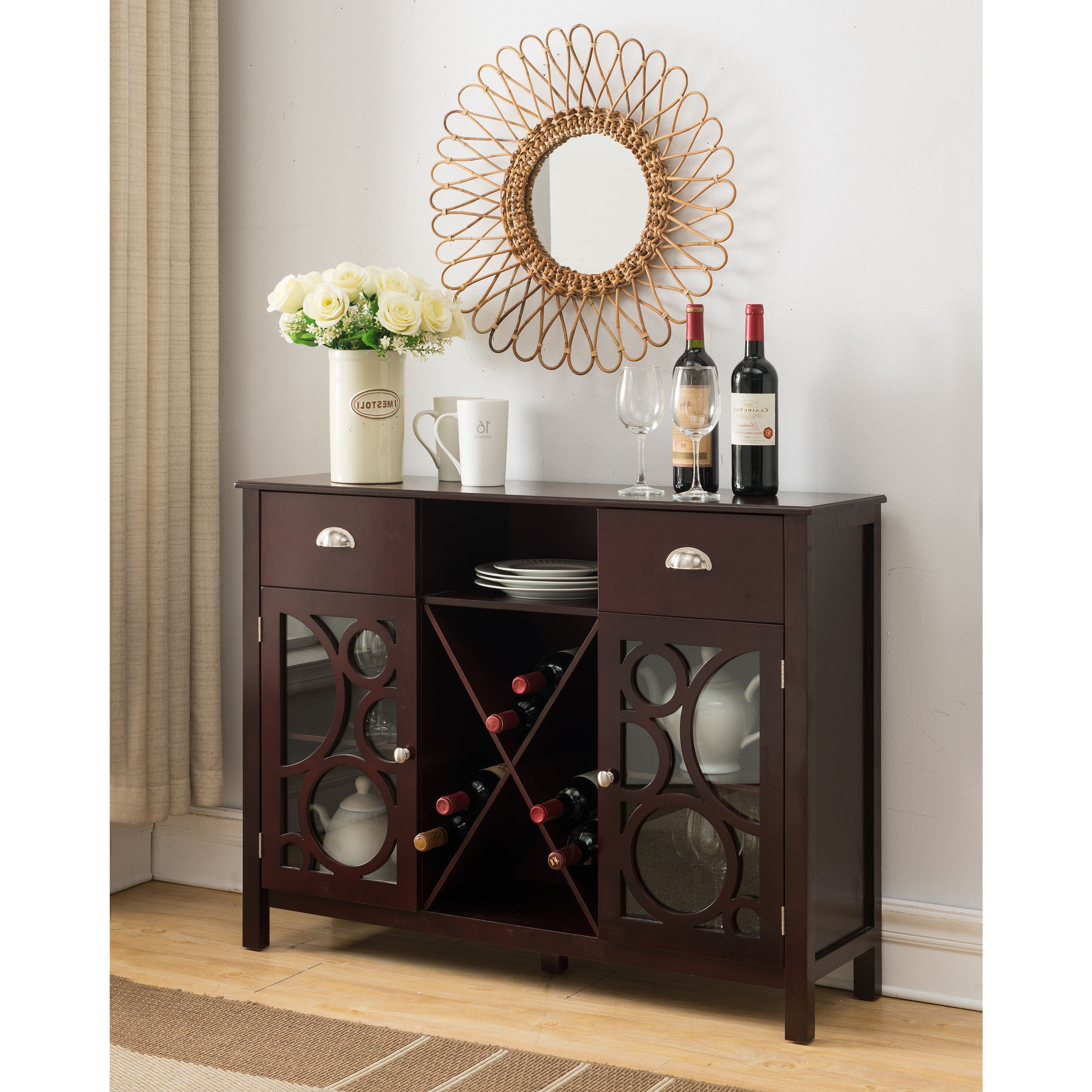 K And B Furniture Co Inc Dark Cherry Wood Storage Wine Throughout Buffets With Bottle And Glass Storage (View 9 of 20)