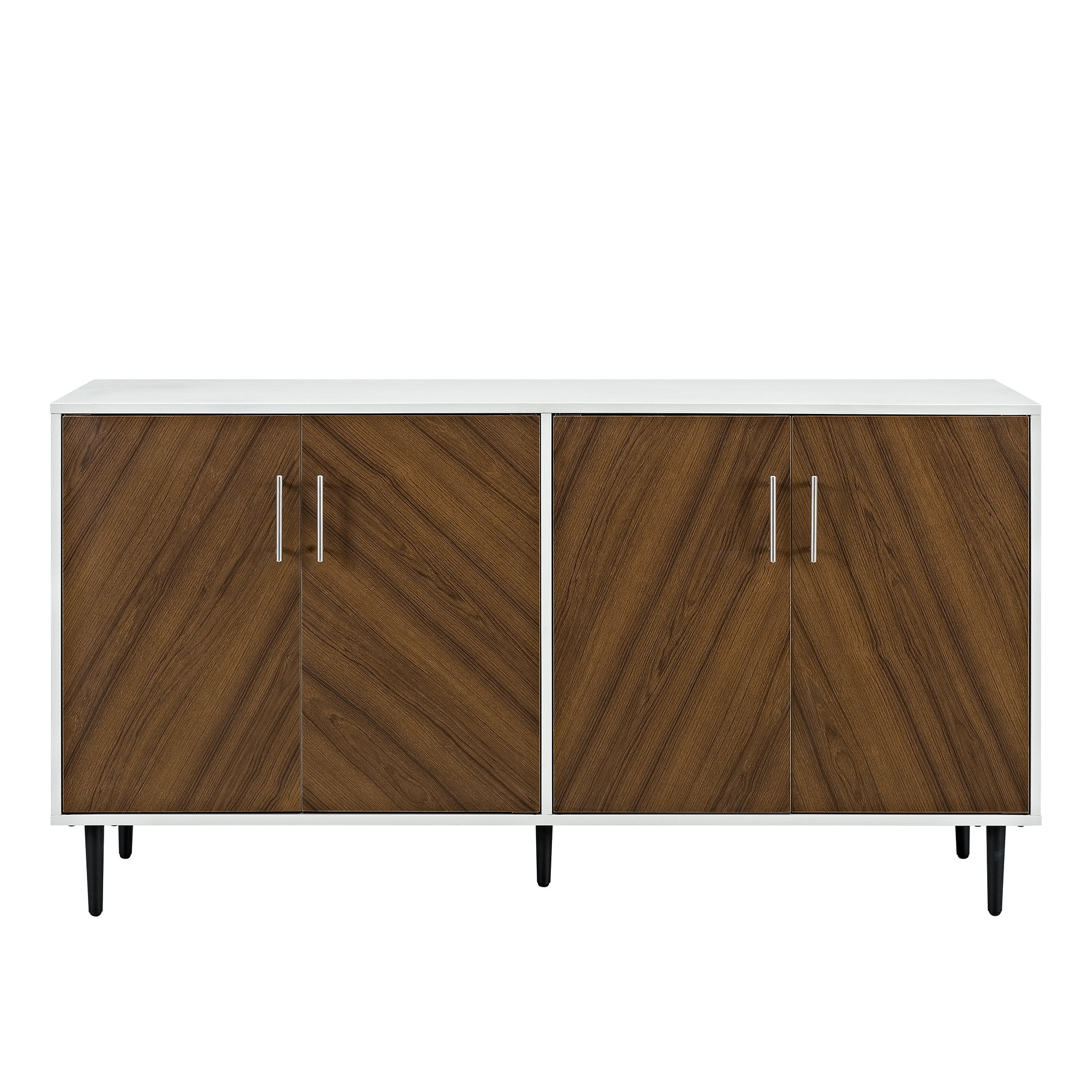 Keiko Modern Bookmatch Sideboard Pertaining To Mid Century Modern Glossy White Buffets (Gallery 13 of 20)